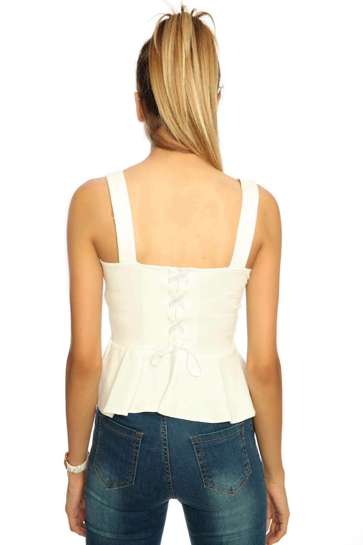 Arkası Detaylı Kısa Bluz Beyaz