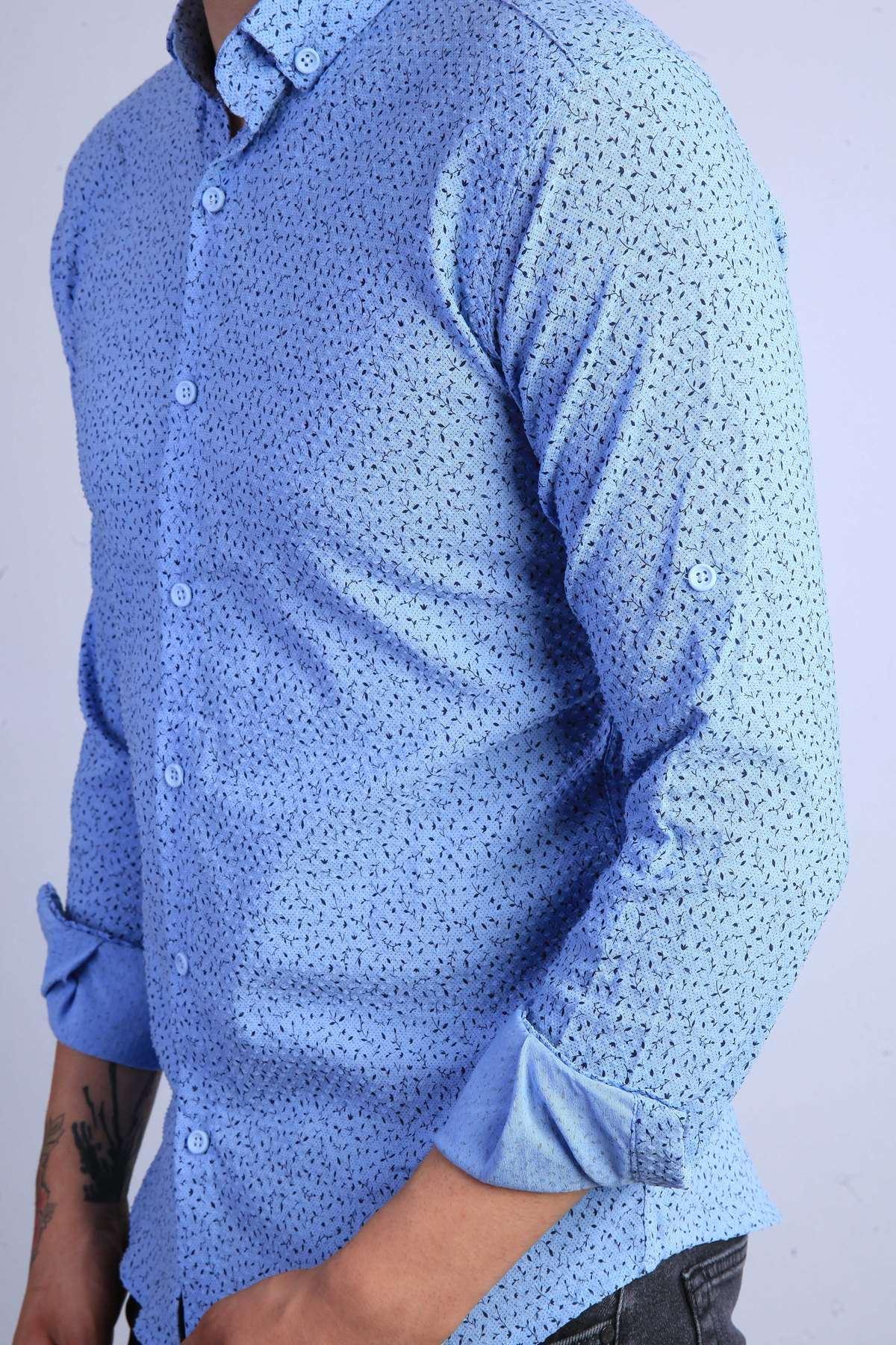 Armüllü Noktalı Küçük Yaprak Desenli Slim Fit Gömlek Mavi