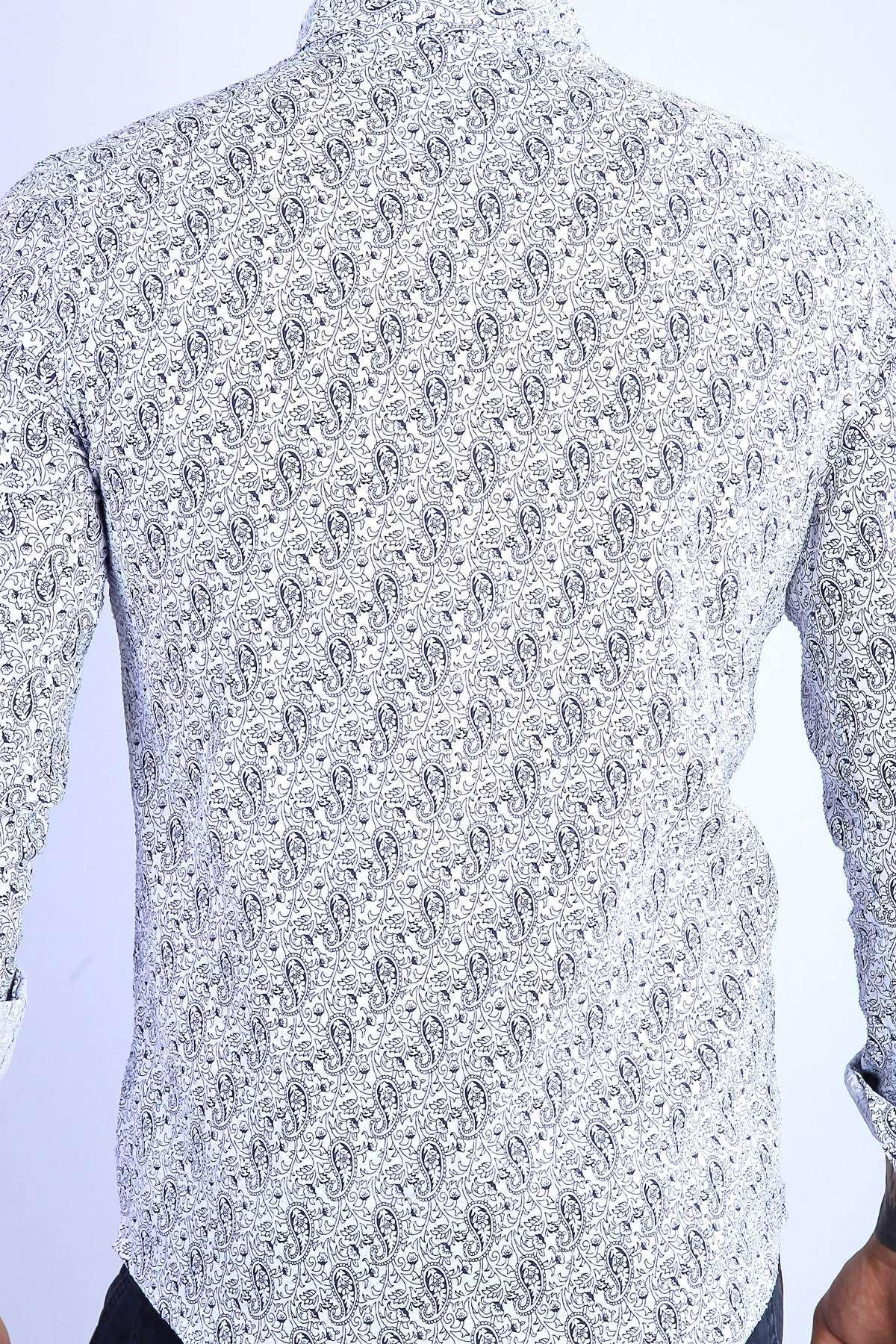 Armüllü Şal Desenli Slim Fit Gömlek Beyaz