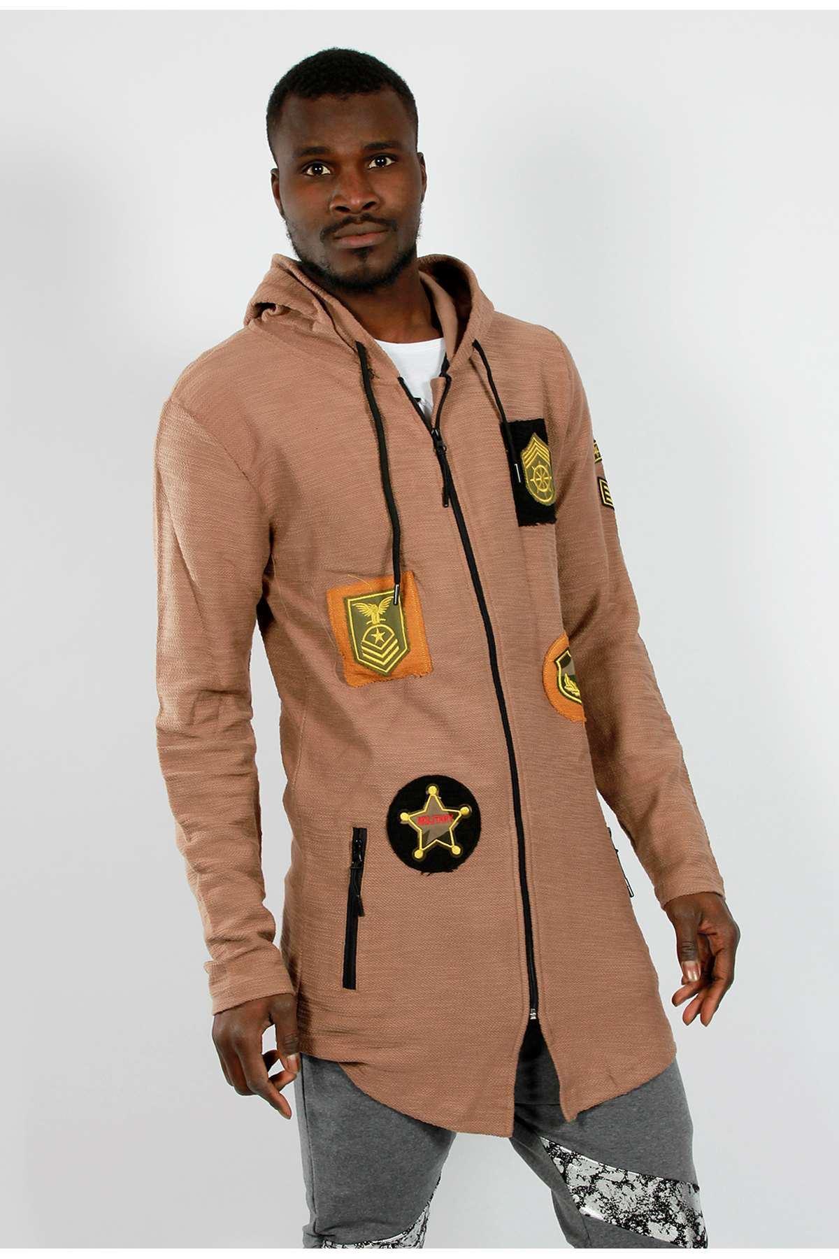 Armalı Kapşonlu Uzun Panço Sweatshirt Kahve