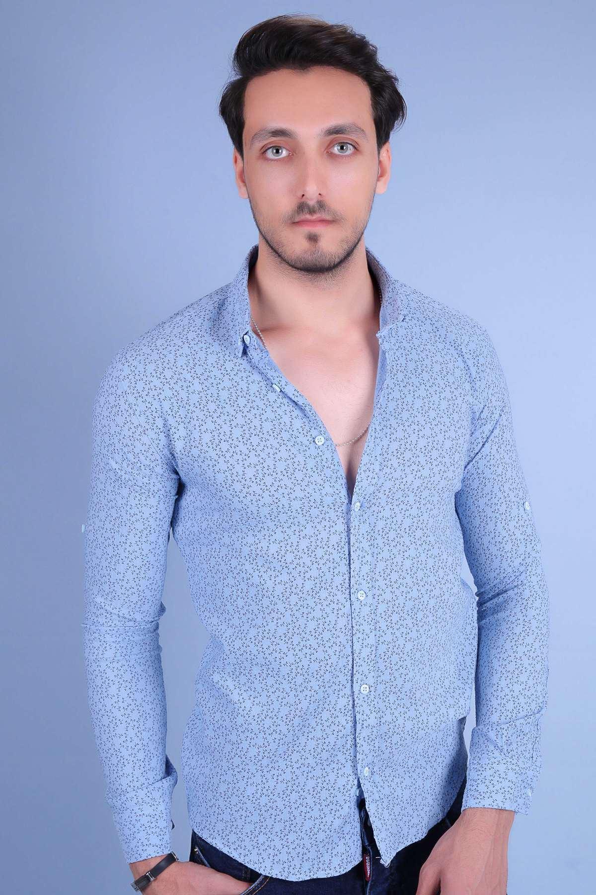 Armüllü Yusufcuk Böcek Desenli Uzun Kol Slim Fit Gömlek B.Mavi