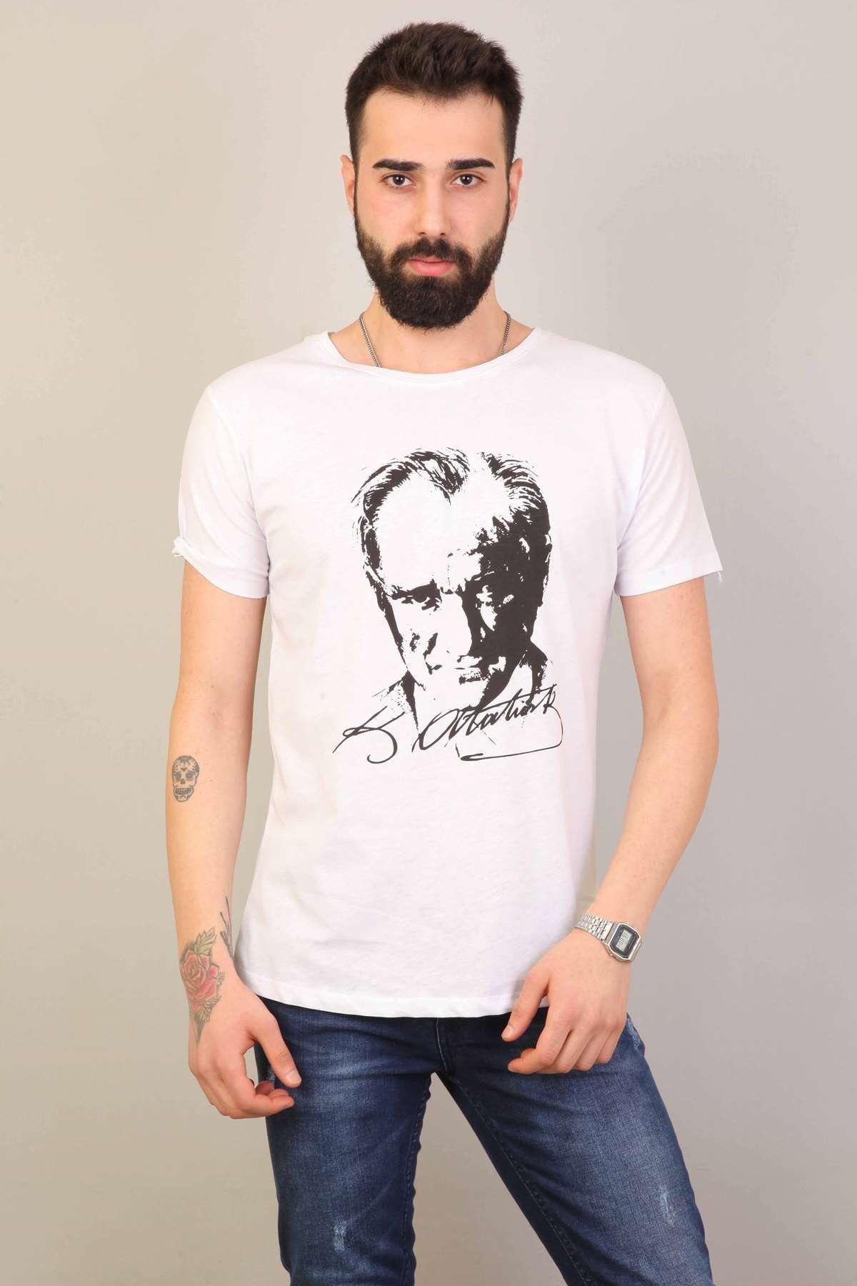 Atatürk Baskılı Sıfır Yaka Slim Fit Tişört Beyaz