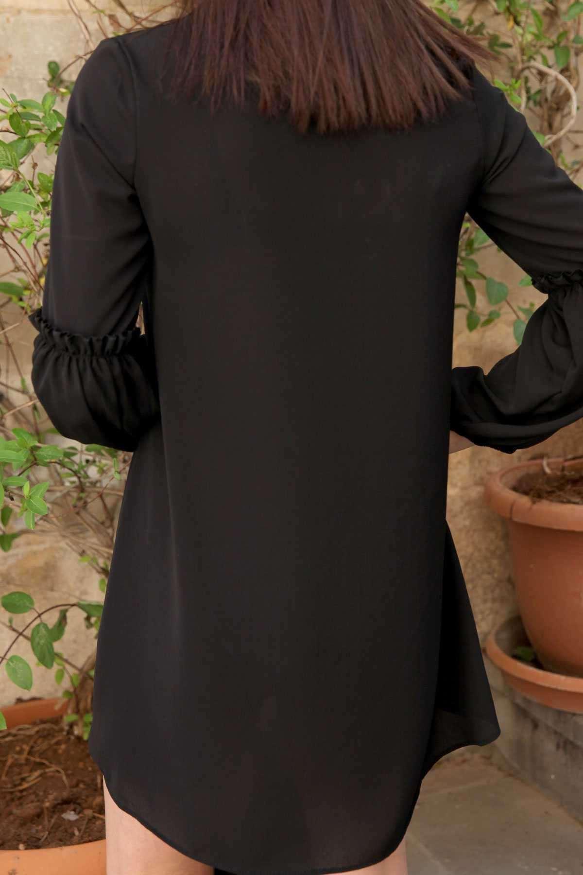 Balon Kol Fırfır Detaylı Sıfır Yaka Tunik Siyah