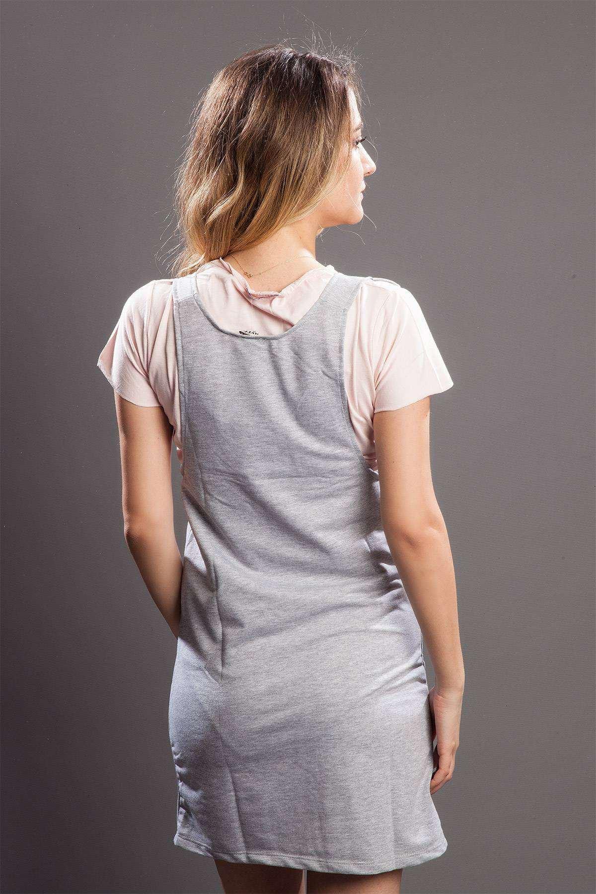 Askılı Çift Cepli Mini Elbise Gri