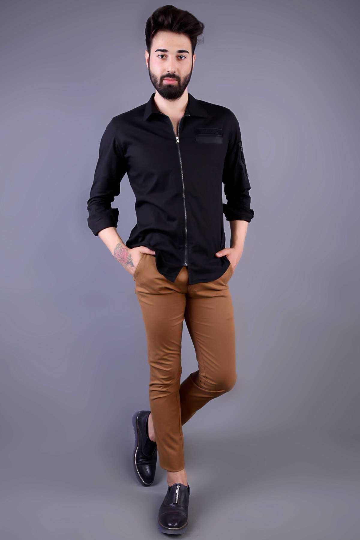 Basic Çift Cep Slim Fit Keten Pantolon Taba