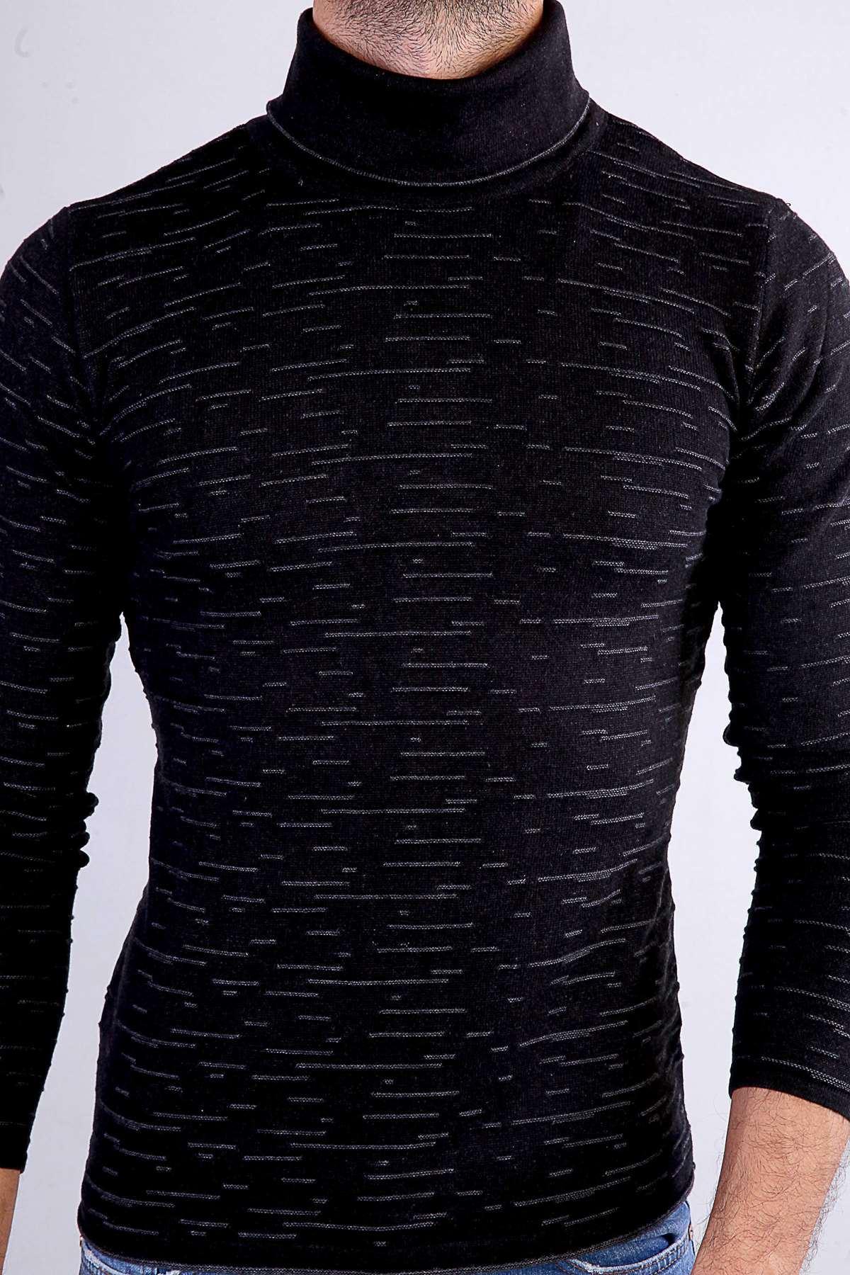 Balıkçı Yaka Çizgi Desenli Triko Siyah