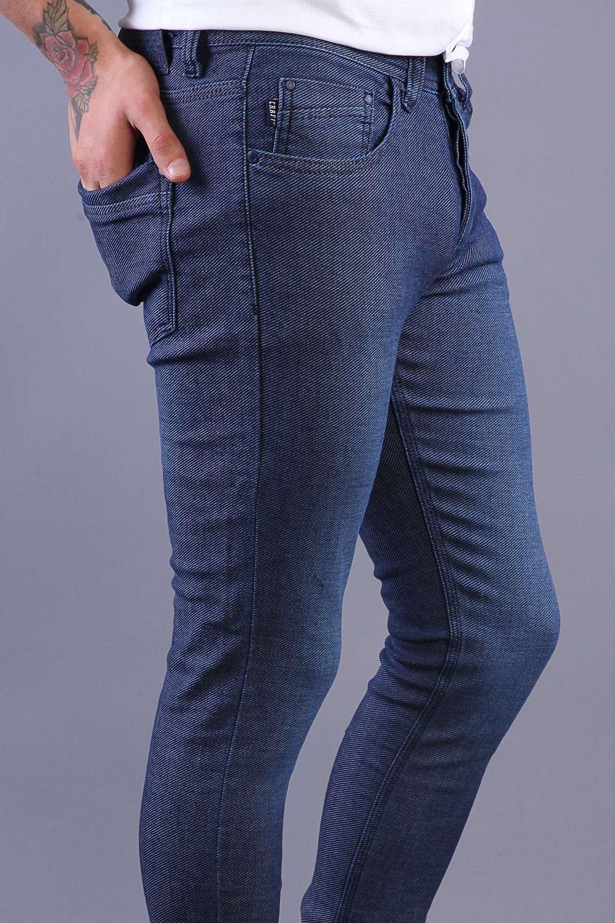 Basic Çizgi Desenli Diz Hafif Taşlamalı Slim Fit Kot Pantolon Koyu-Mavi