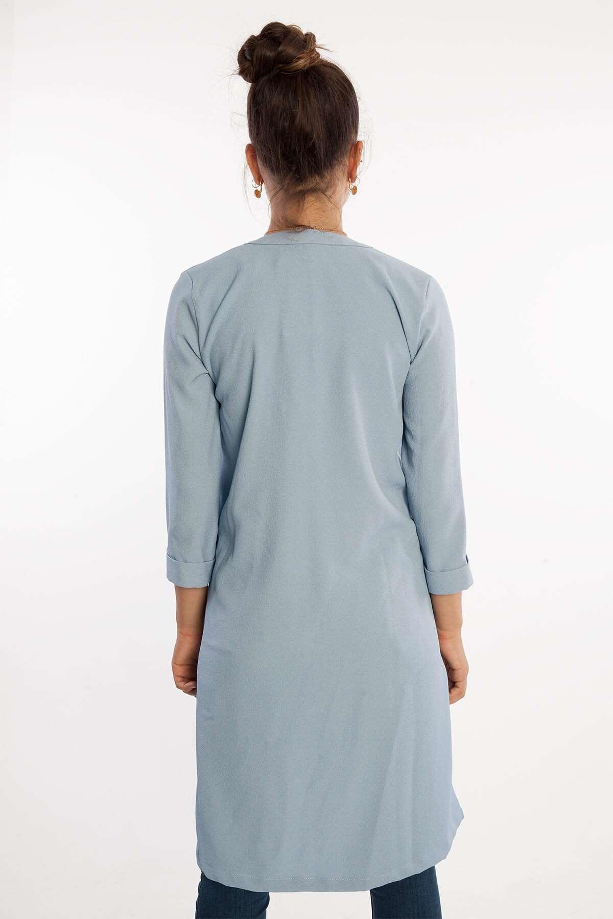 Basic Çift Cepli Uzun Ceket Mavi