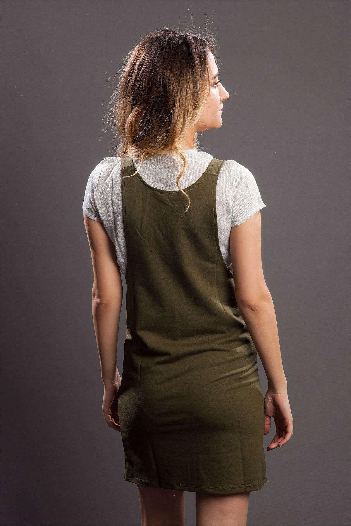 Askılı Çift Cepli Mini Elbise Haki