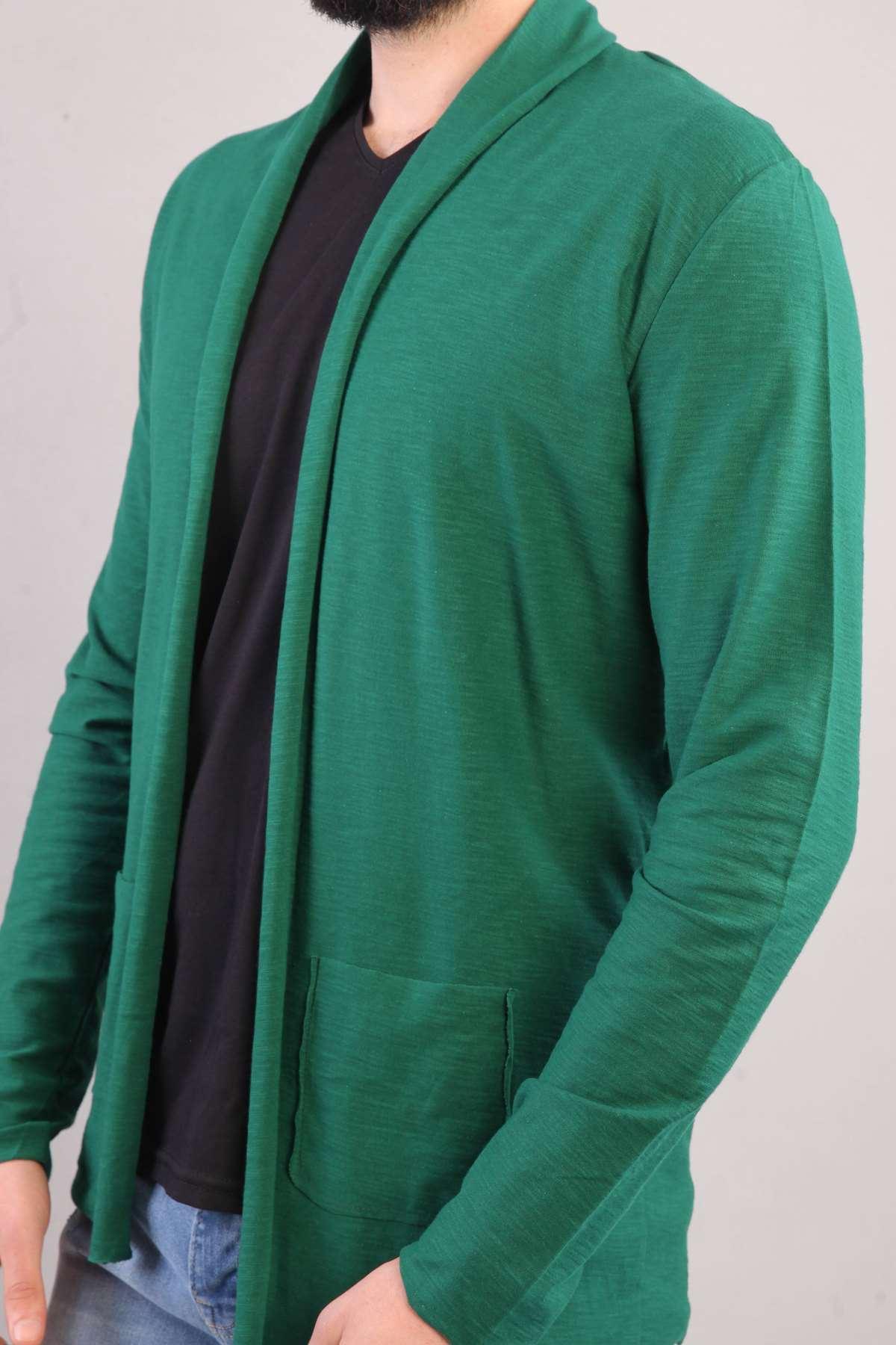 Baharlık Cepli Yaka Detaylı Ceket Yeşil