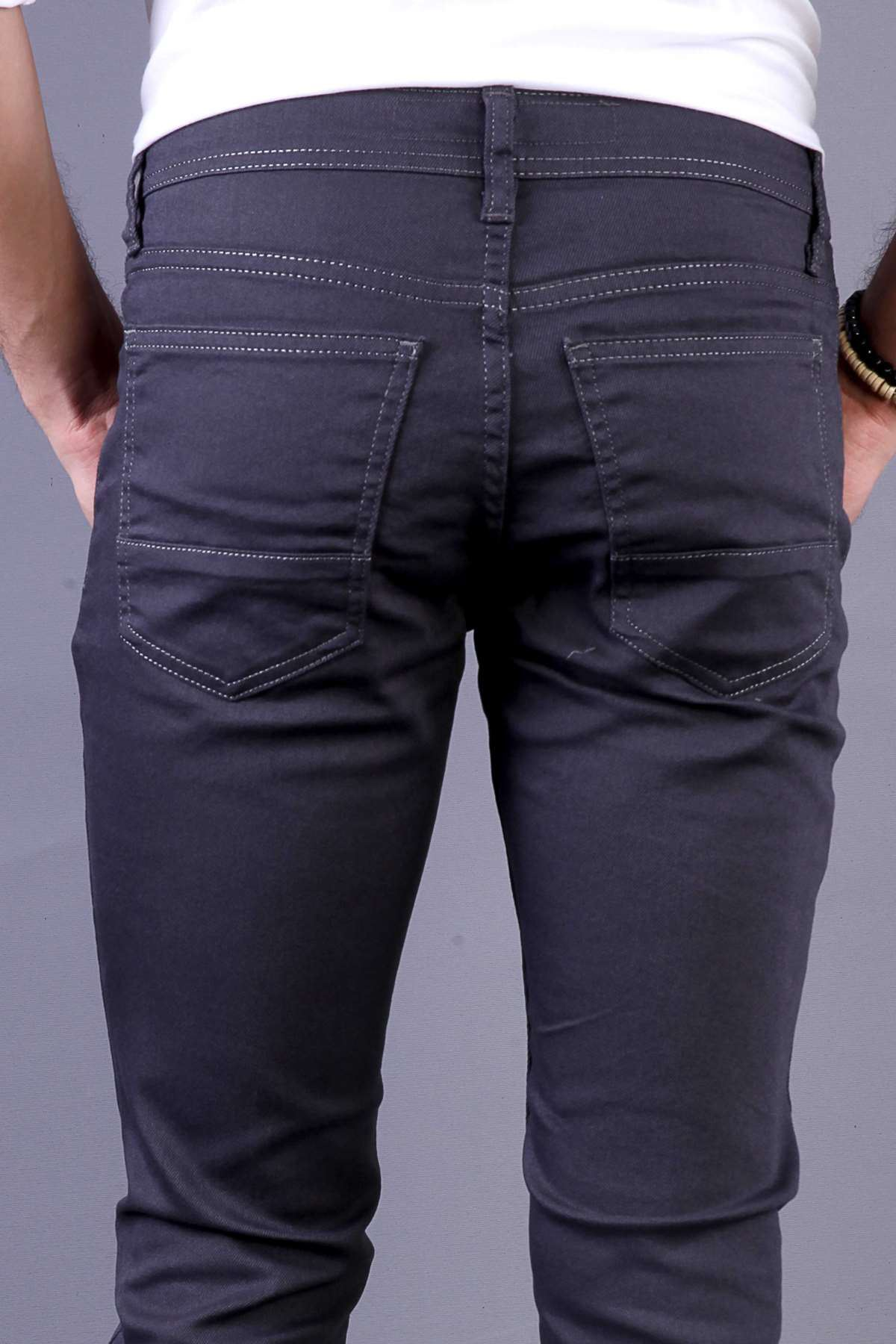Basic Cepli Slim Fit Pantolon Füme
