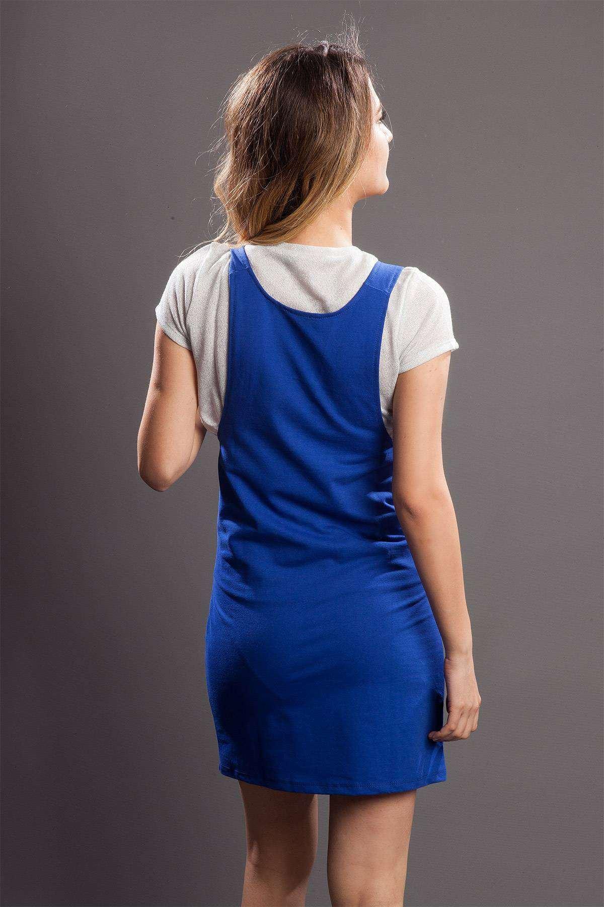 Askılı Çift Cepli Mini Elbise Saks
