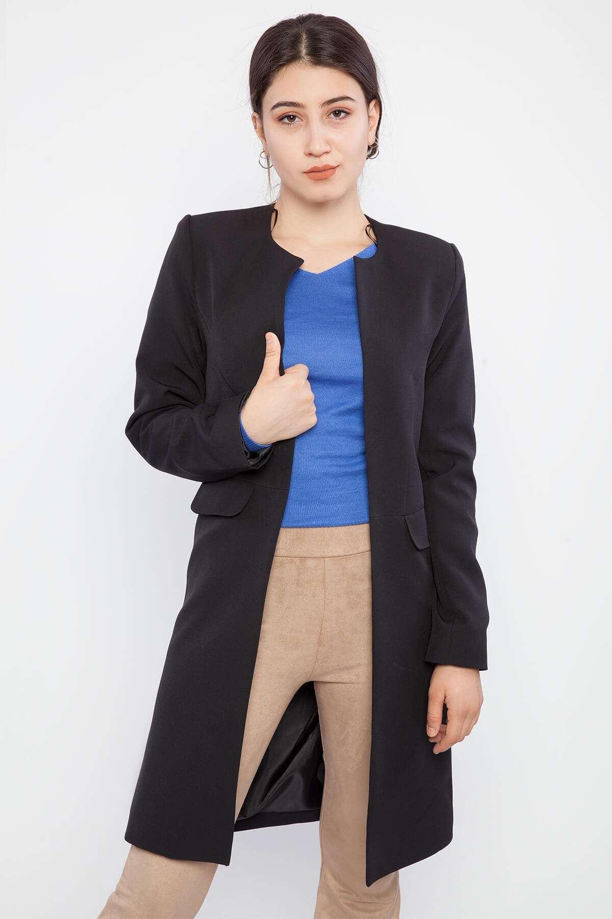 Basic Çift Cep Uzun Ceket Siyah