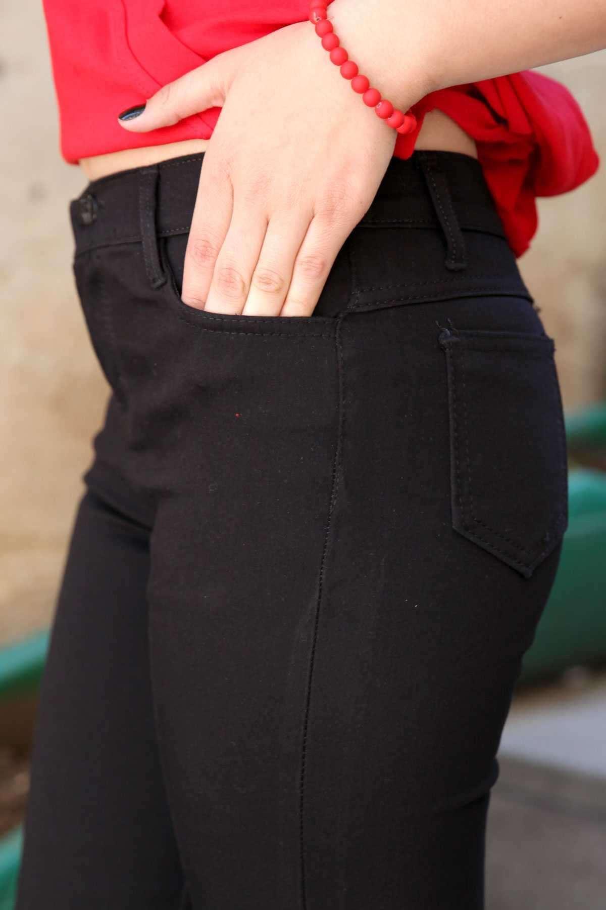 Basic Çift Cep Likralı Slim Fit Pantolon Siyah