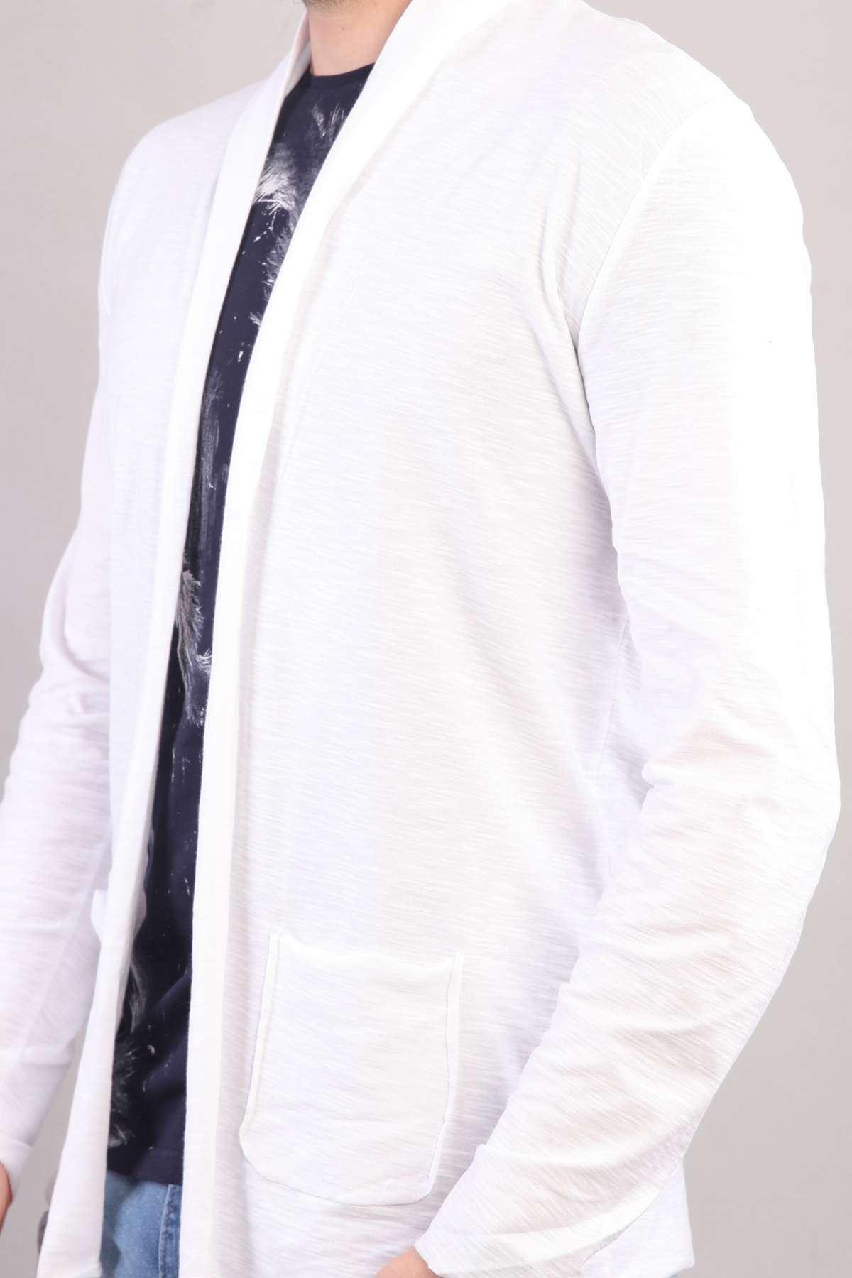 Baharlık Cepli Yaka Detaylı Ceket Beyaz