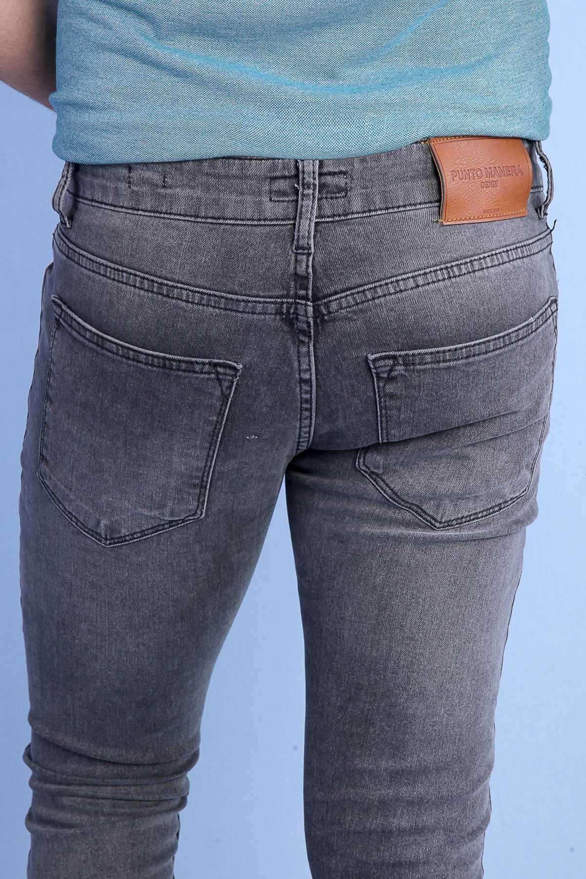 Basic Klinkırlı Slim Fit Kot Pantolon Koyu-Gri