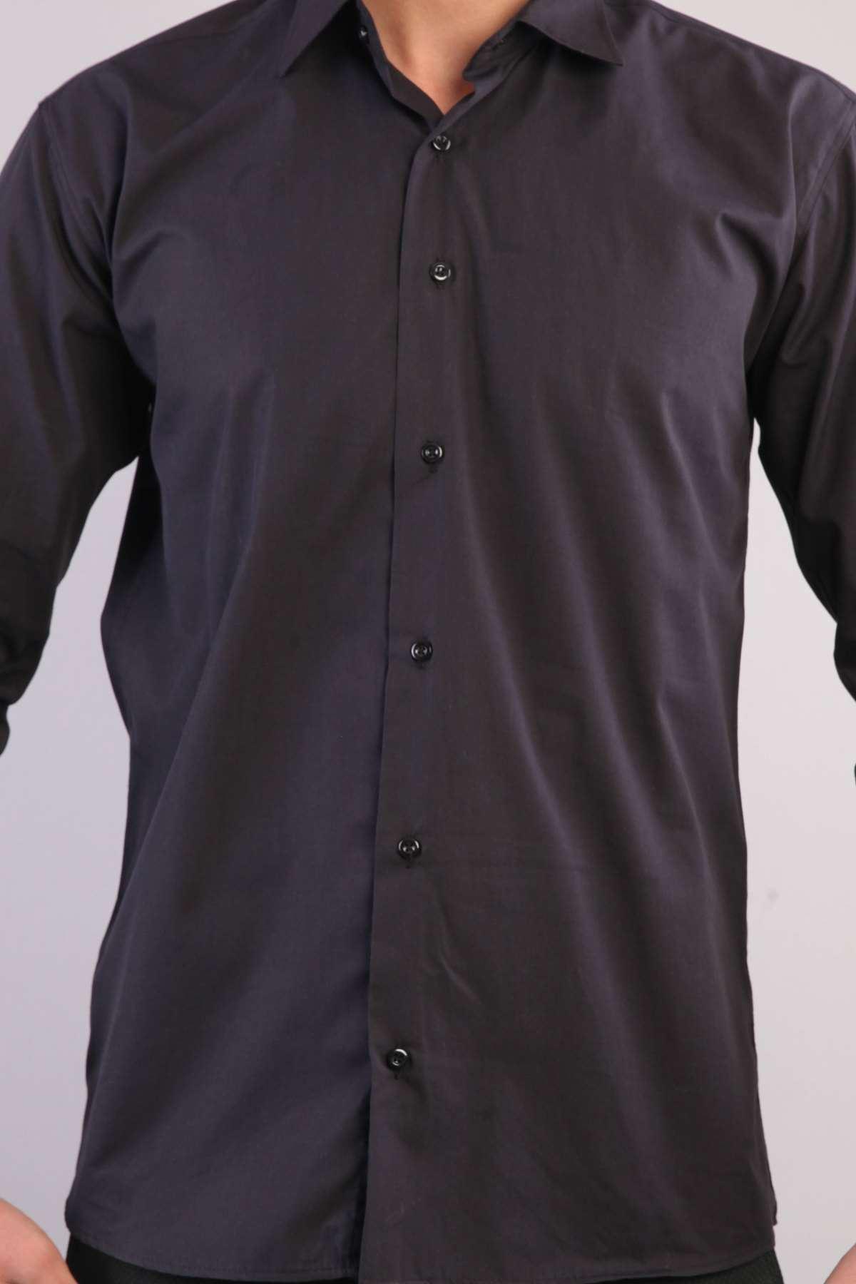 Basic Klasic Yaka Uzun Kol Slim Fit Gömlek Siyah