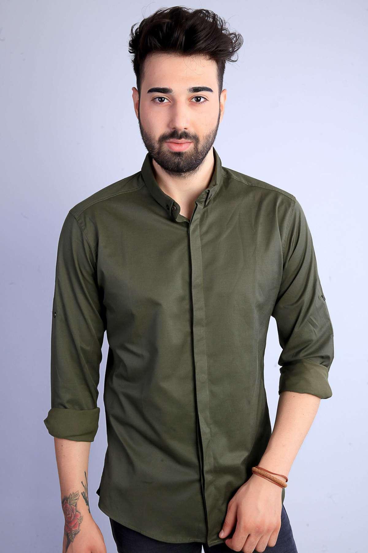 Basic Gizli Düğmeli Slim Fit Gömlek Haki