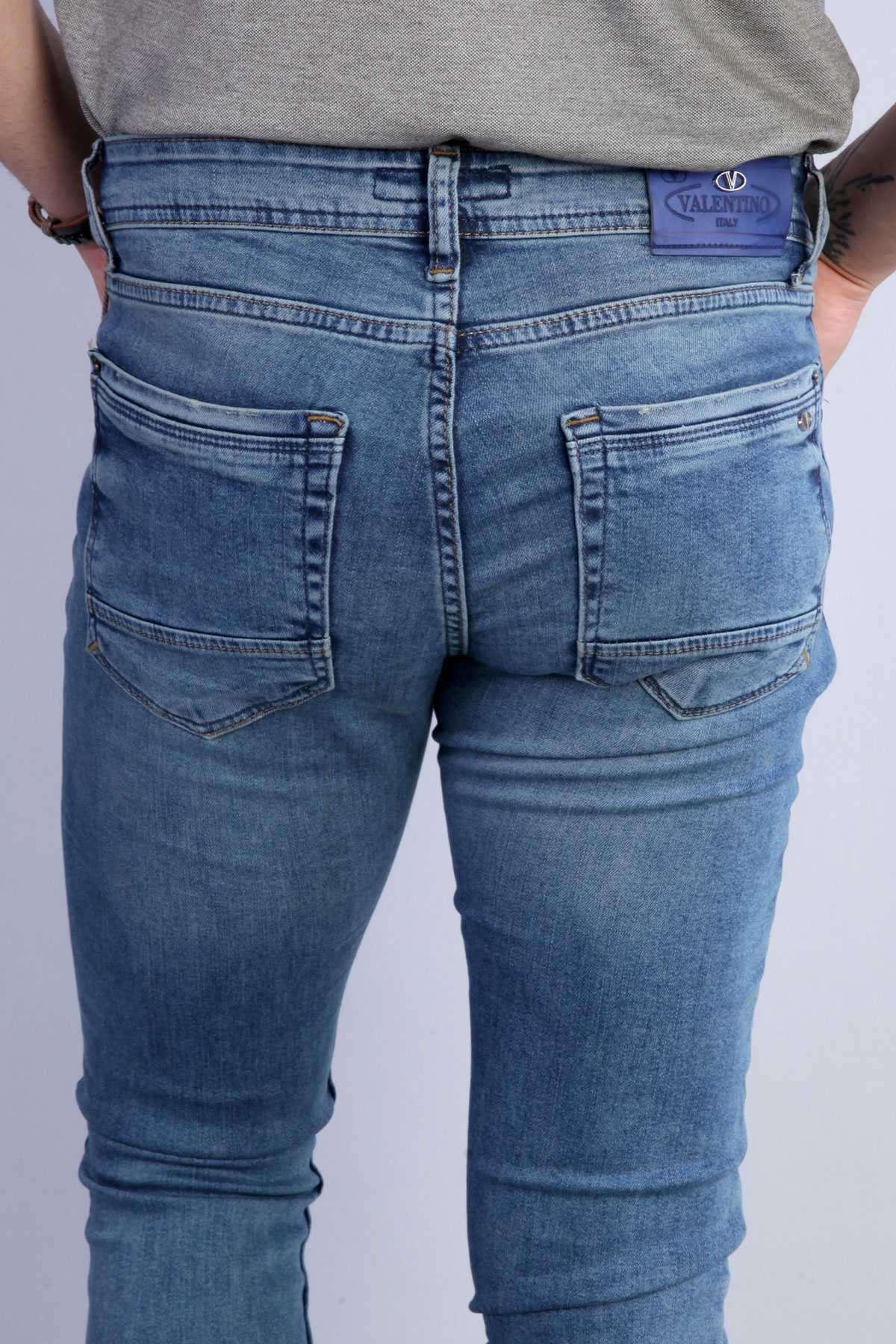 Basic Diz Taşlamalı Slim Fit Kot Pantolon Mavi