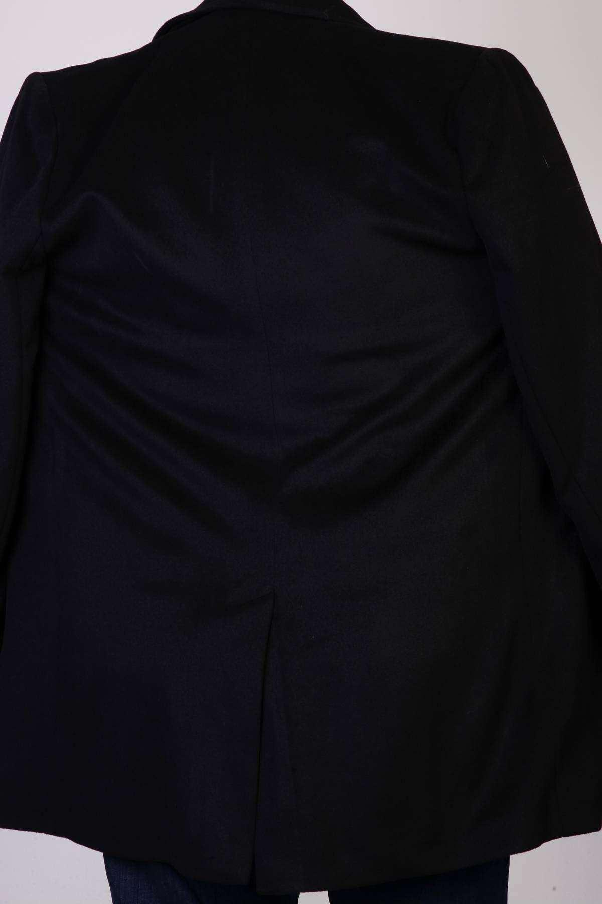 Basic Düğmeli Cepli Uzun Süper Battal Kaşe Siyah