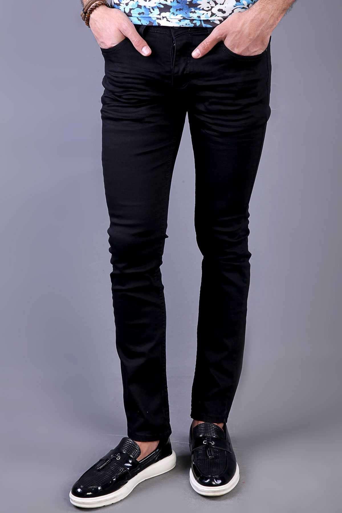 Basic Klinkırlı Slim Fit Kot Pantolon Siyah