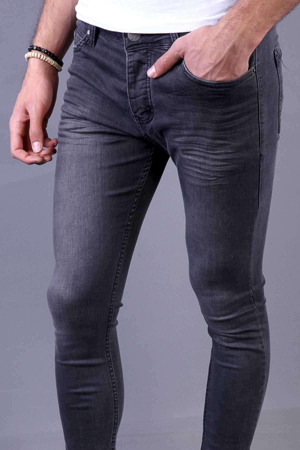 Basic Likralı Hafif Taşlamalı Bilek Boy Slim Fit Kot Pantolon Antrasit