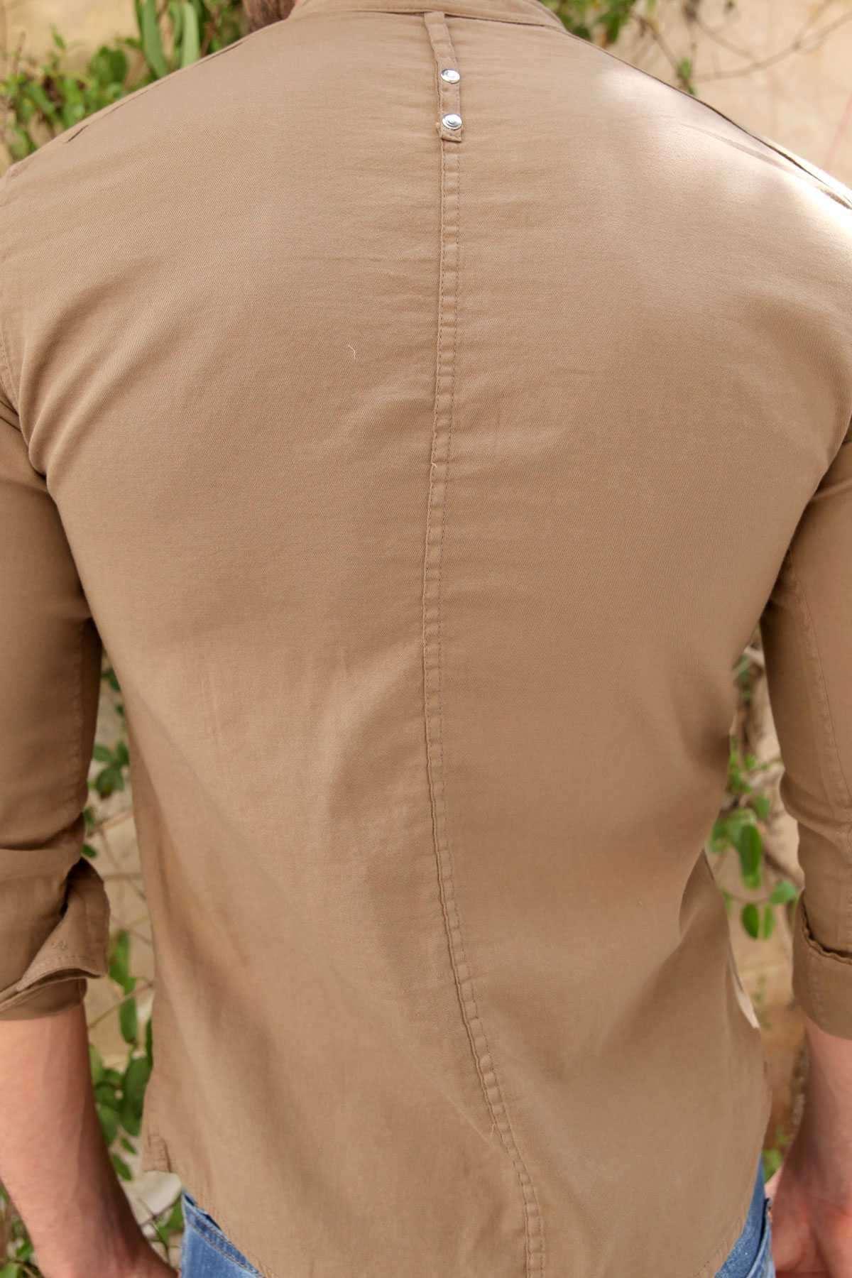 Basic Hakim Yaka Demir Düğmeli Uzun Kol Gömlek Açık Kahve