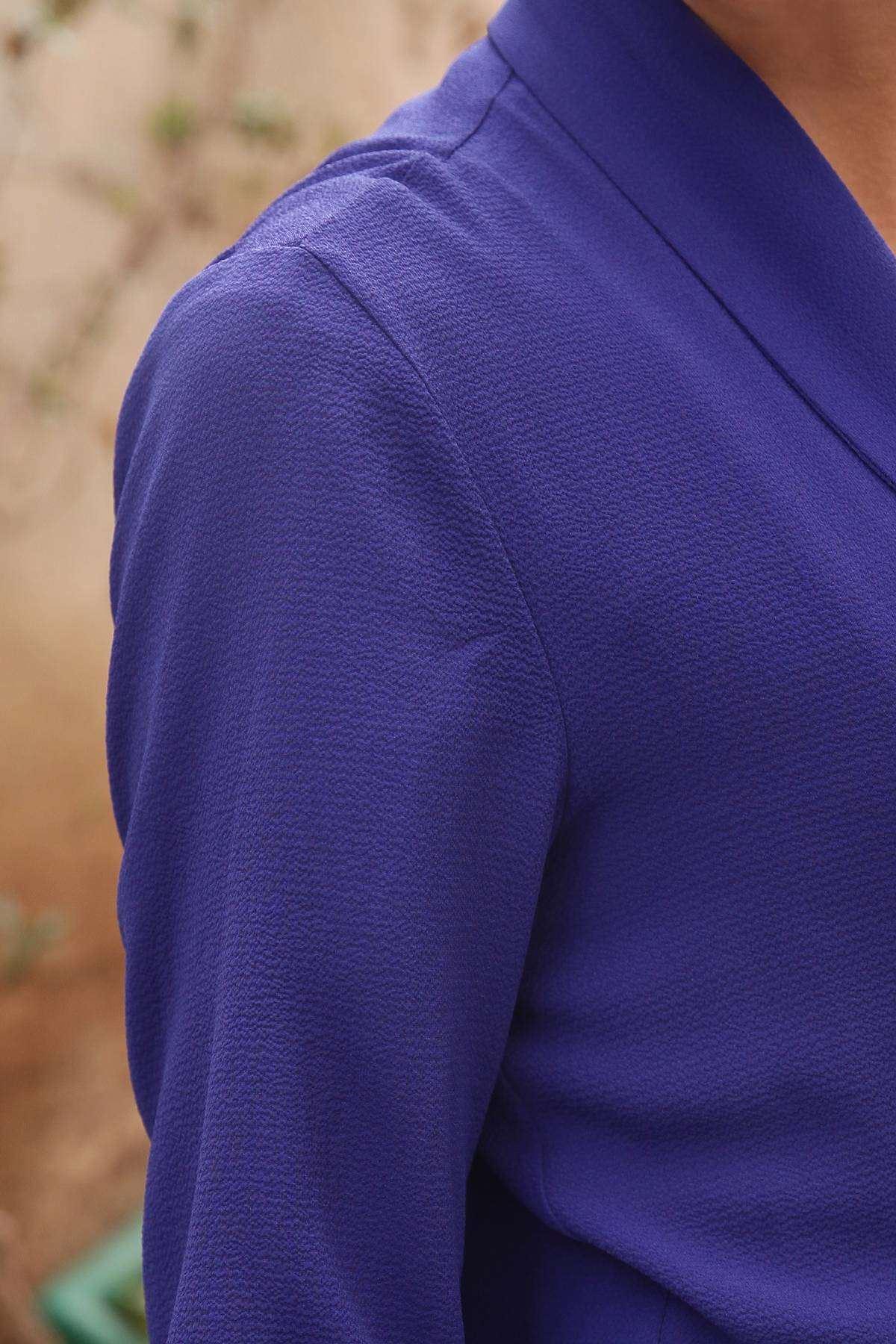 Basic Ges Kol Yanları Yırtmaçlı Ceket Saks