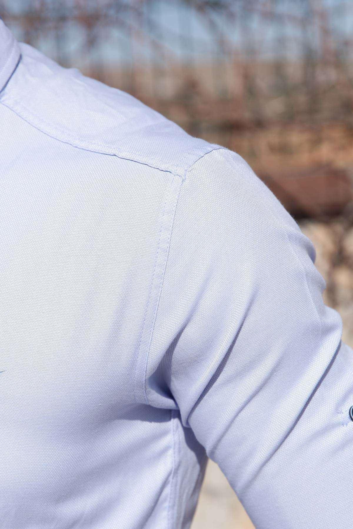 Basic Noktalı Klasik Yaka Slim Fit Gömlek B.Mavi