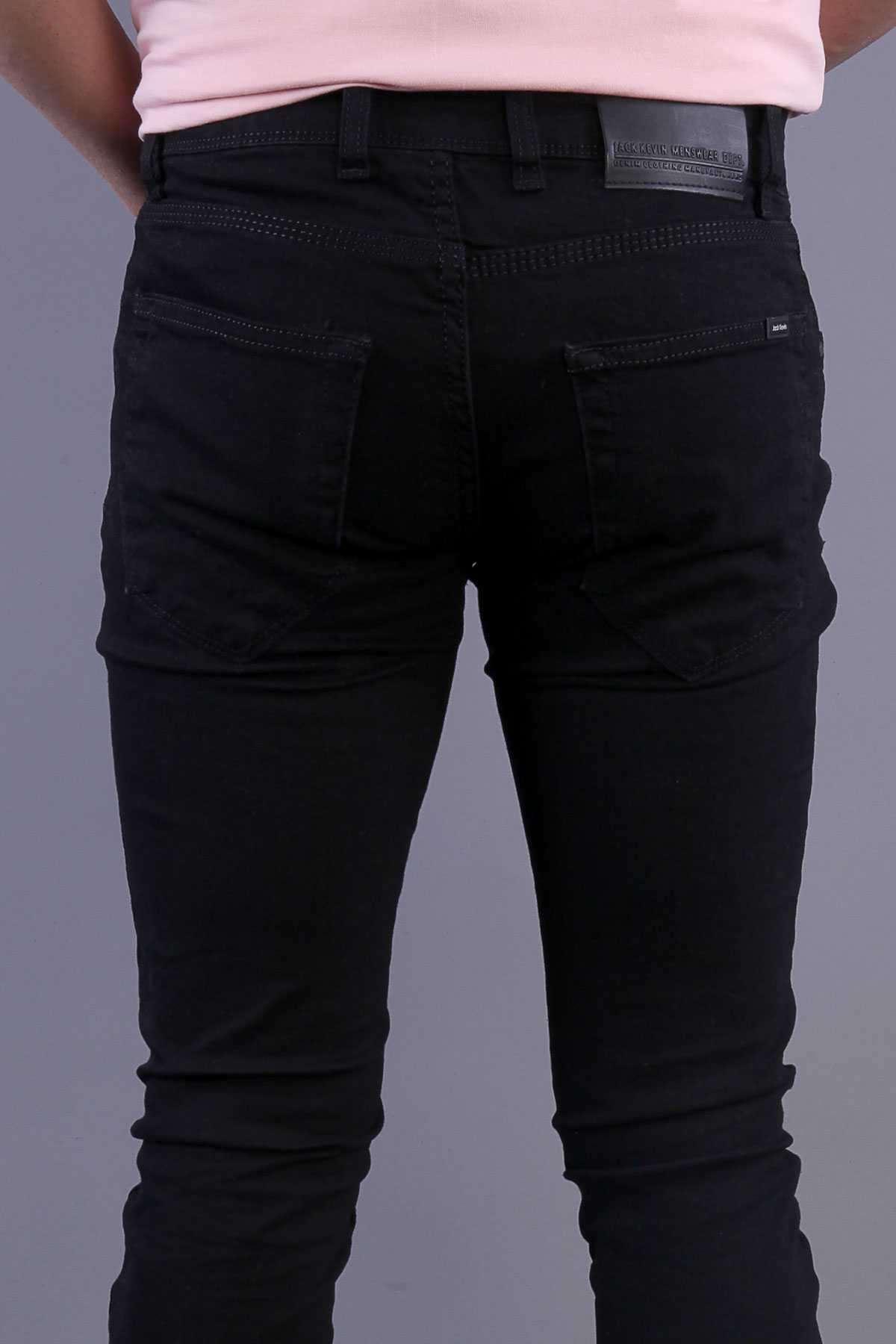 Basic Klinkırlı Yıkamalı Slim Fit Kot Pantolon Siyah