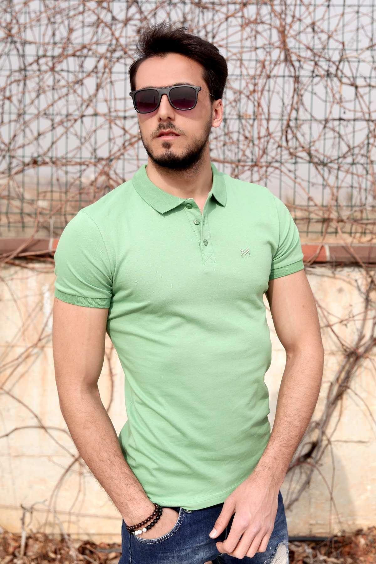 Basic Polo Yaka Slim Fit Tişört F.Yeşil