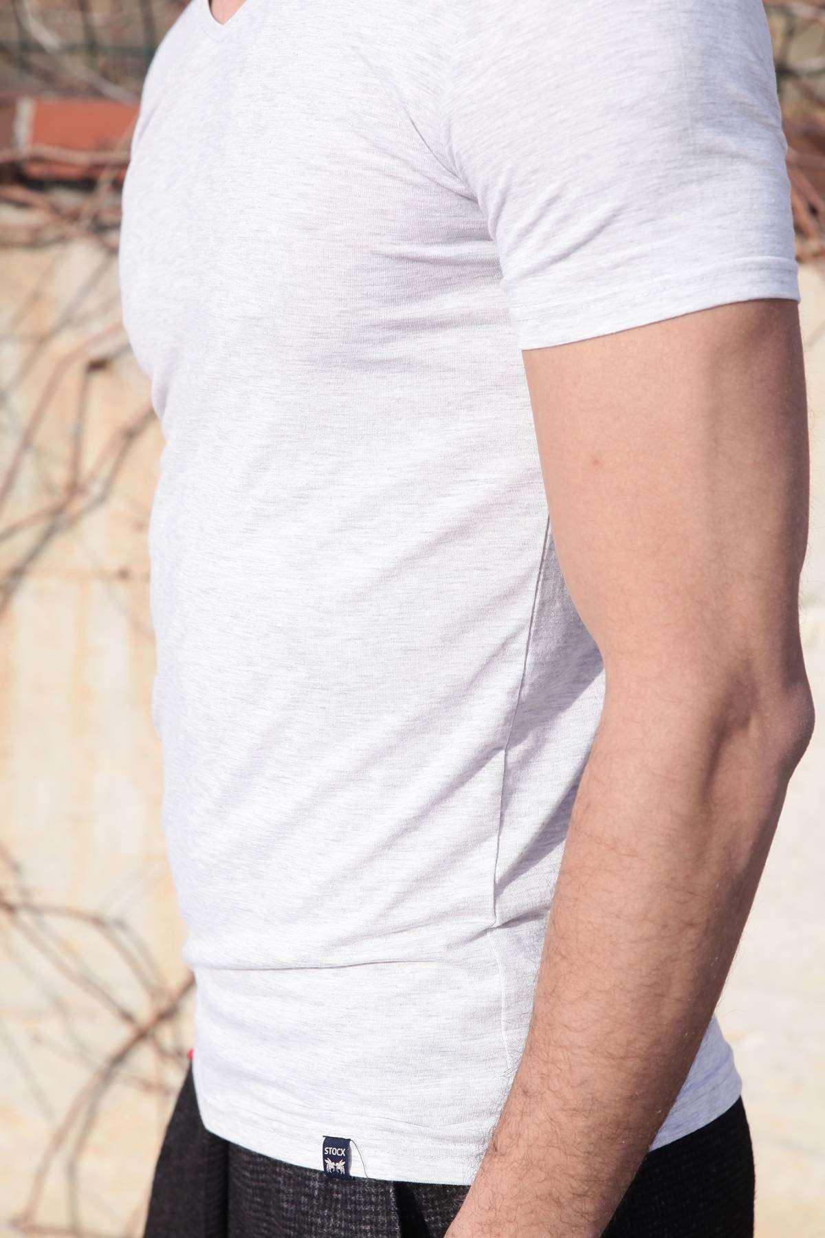 Basic V Yaka Kısa Kol Tişört Açık-Gri