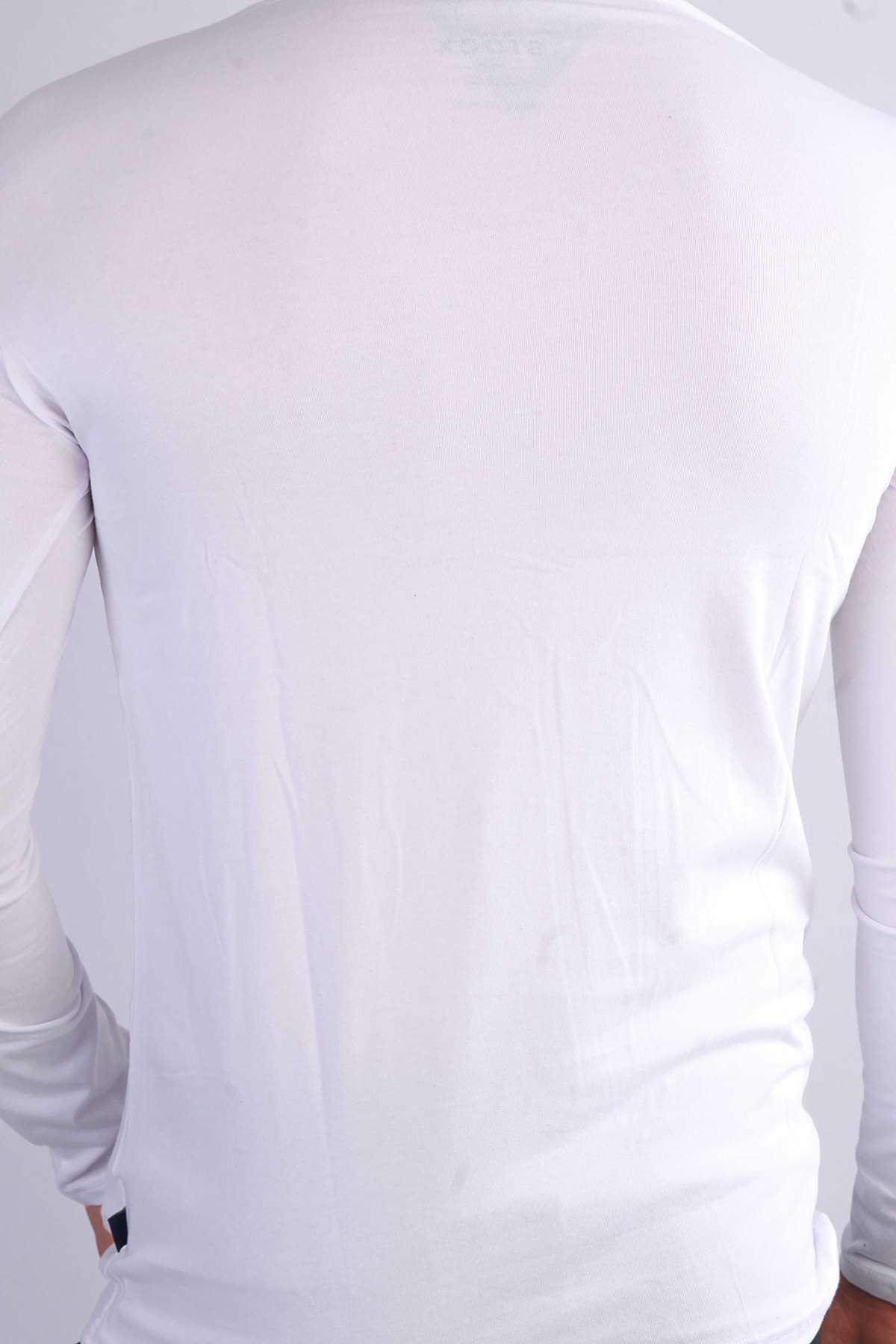 Basic Sıfır Yaka Uzun Kol Swetshırt Beyaz