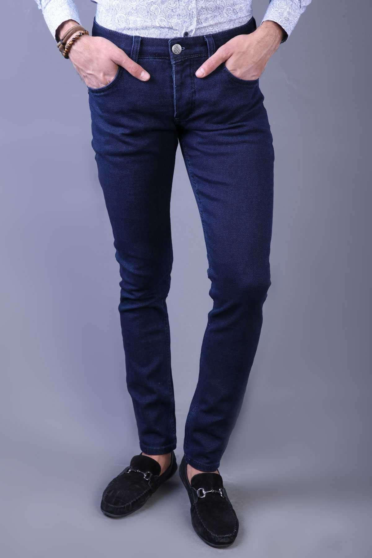 Basic Petek Slim Fit Kot Pantolon Koyu Lacivert