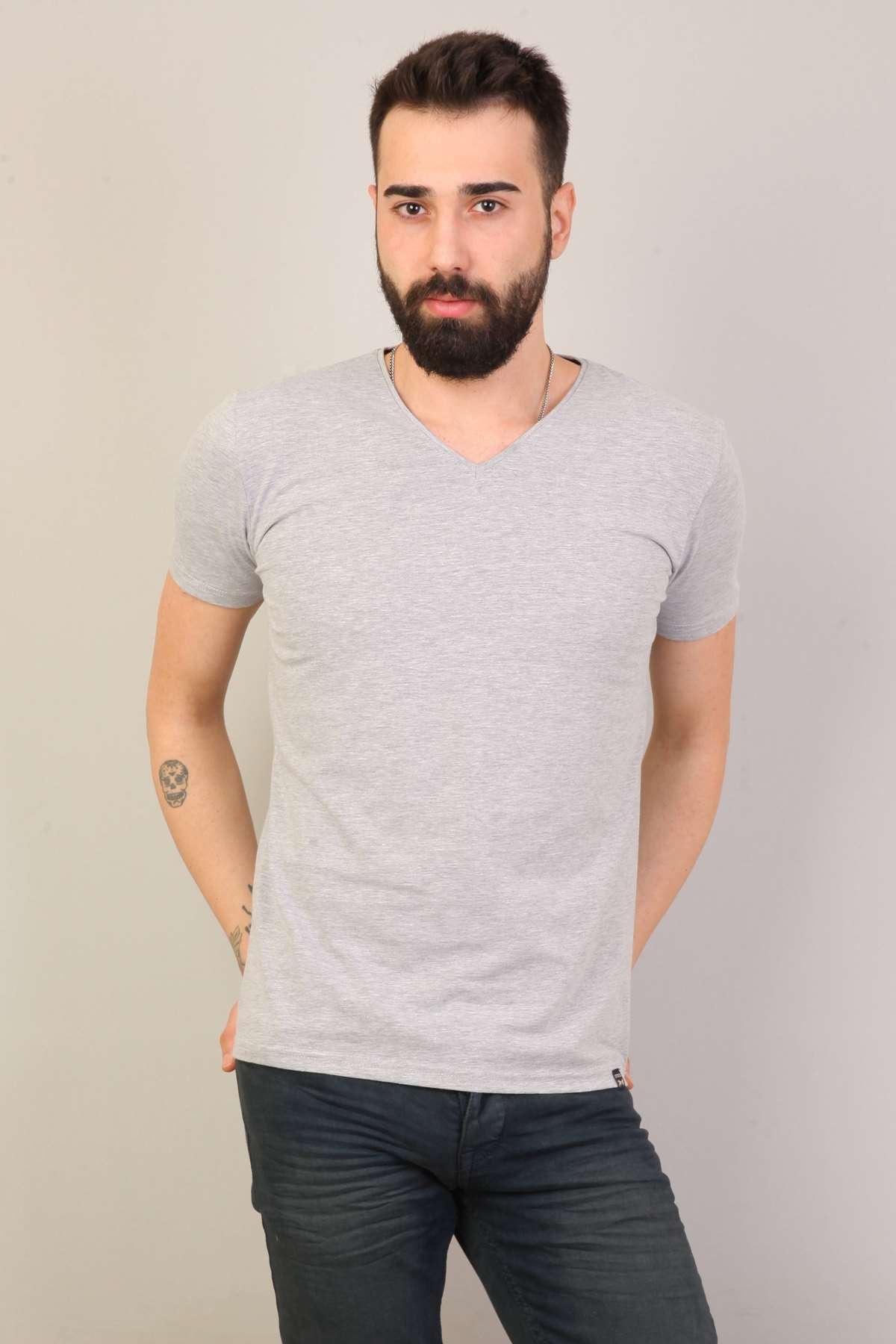 Basic V Yaka Kısa Kol Tişört Gri