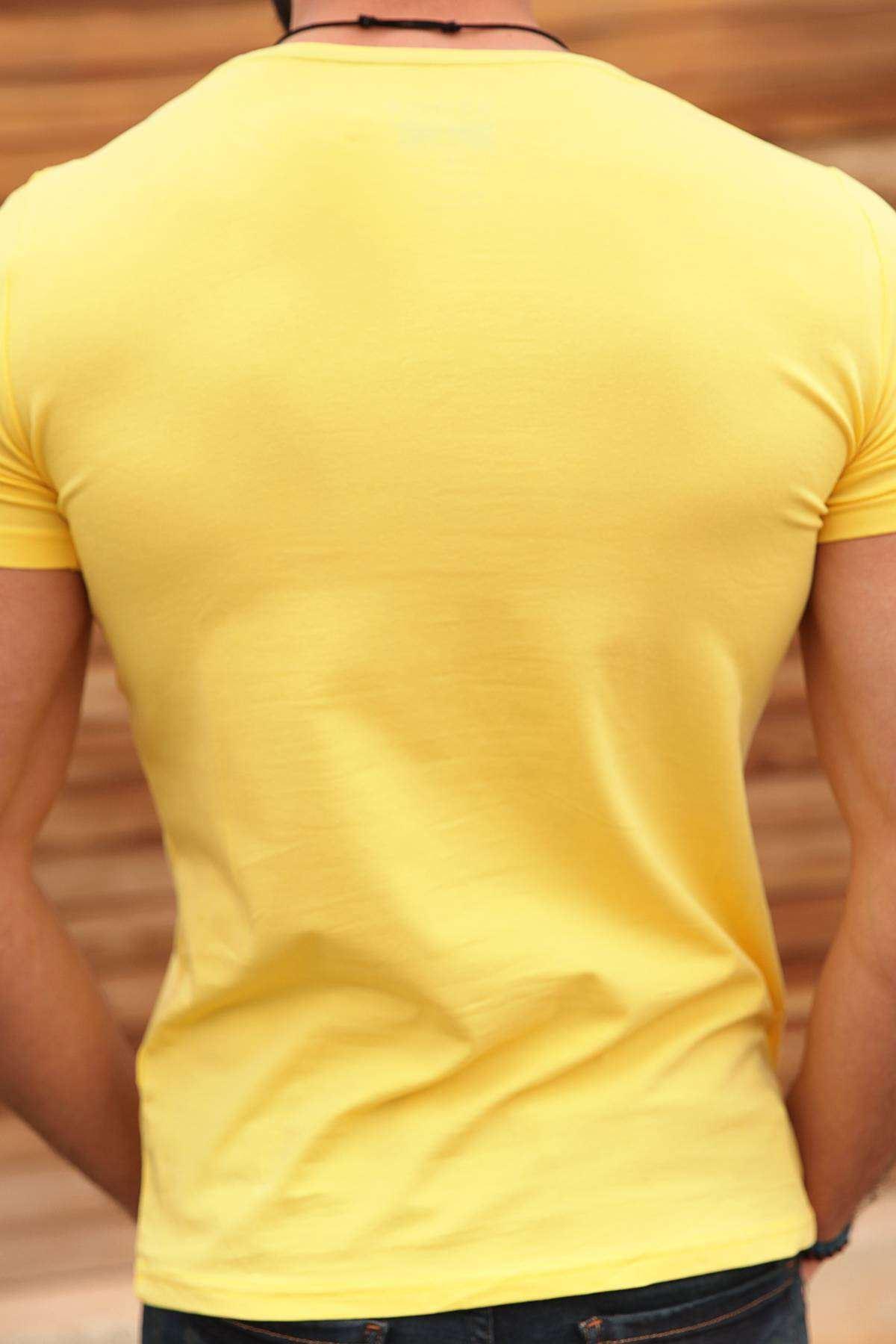 Basic O Yaka Kısa Kol Tişört Sarı