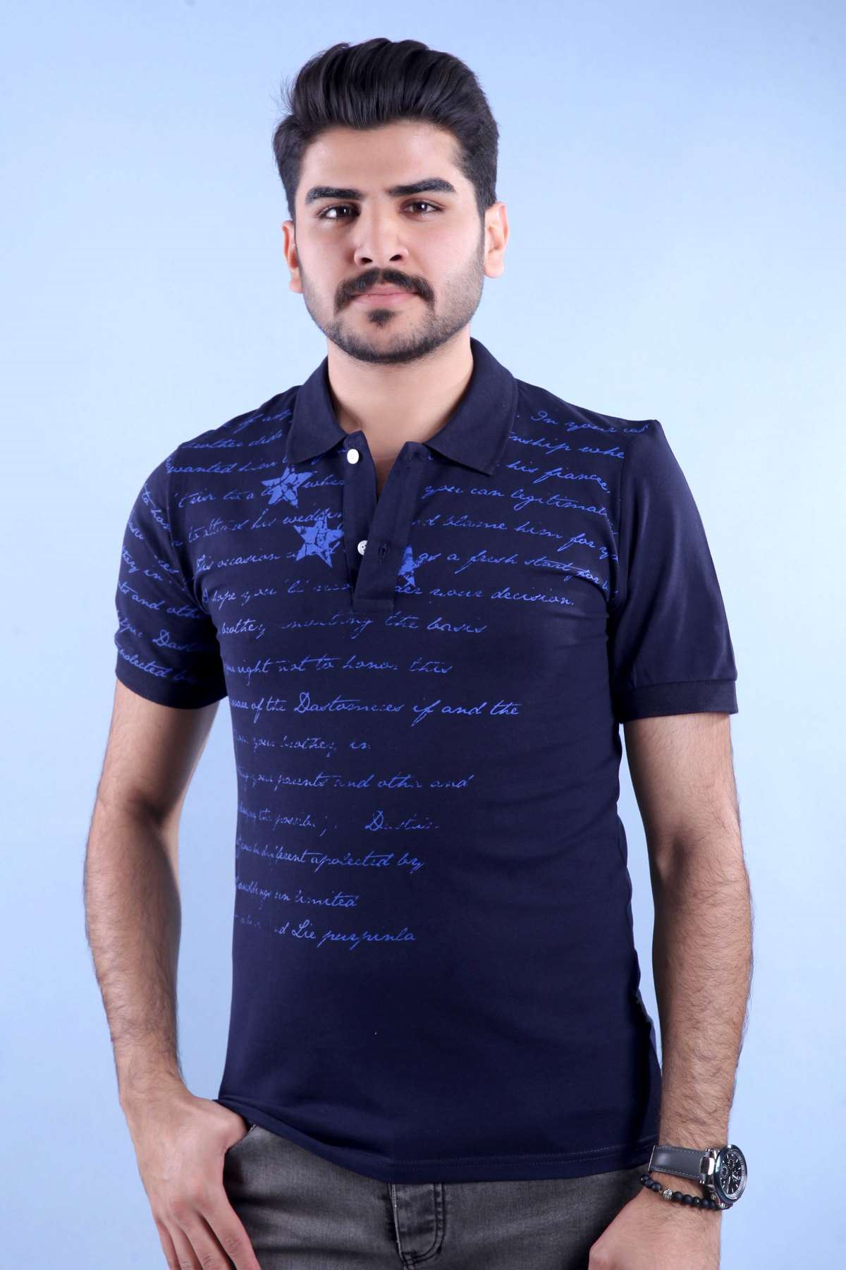 Basic Polo Yaka Yazılı Slim Fit Tişört Laci