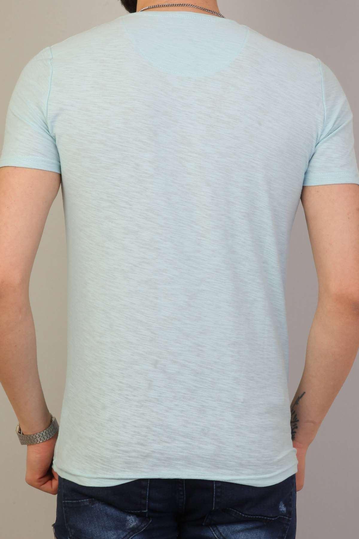Basic O Yaka Kısa Kol Tişört Açık-Mavi