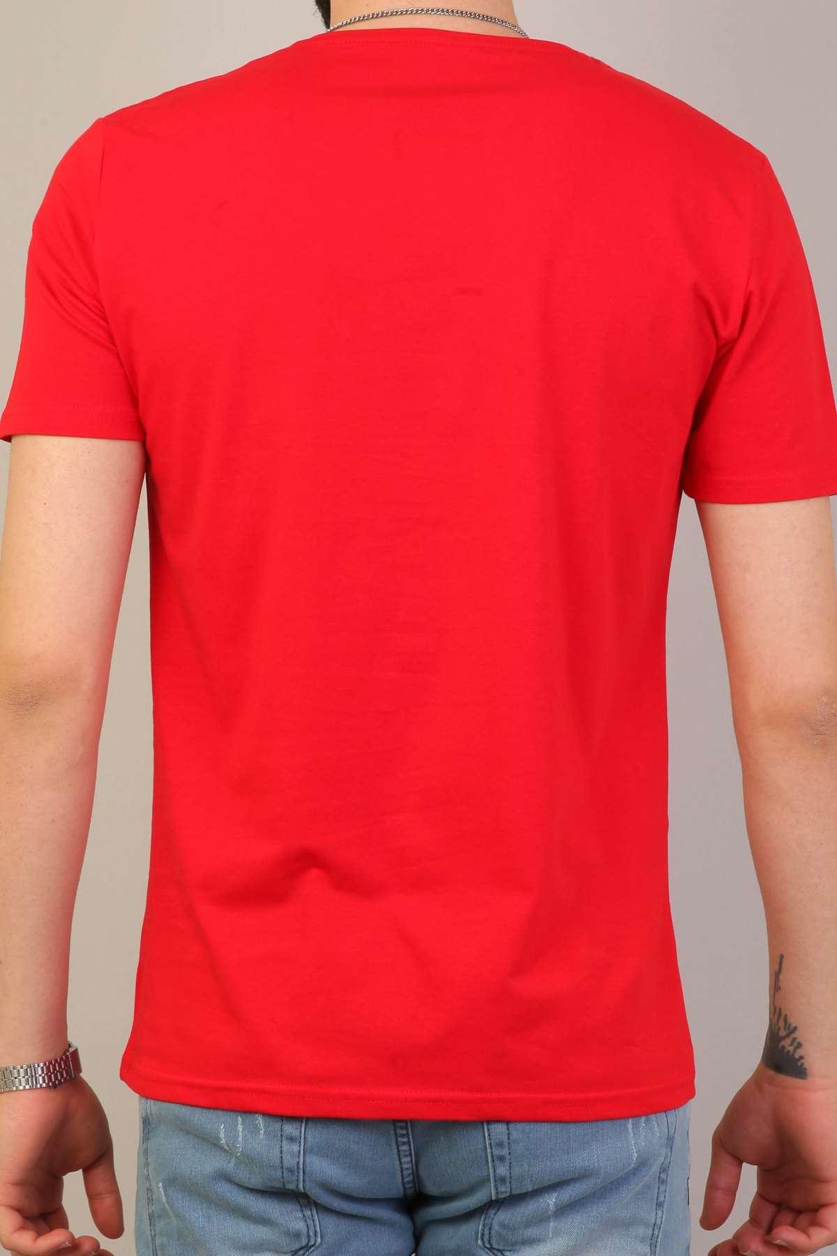 Basic O Yaka Kısa Kol Tişört Kırmızı