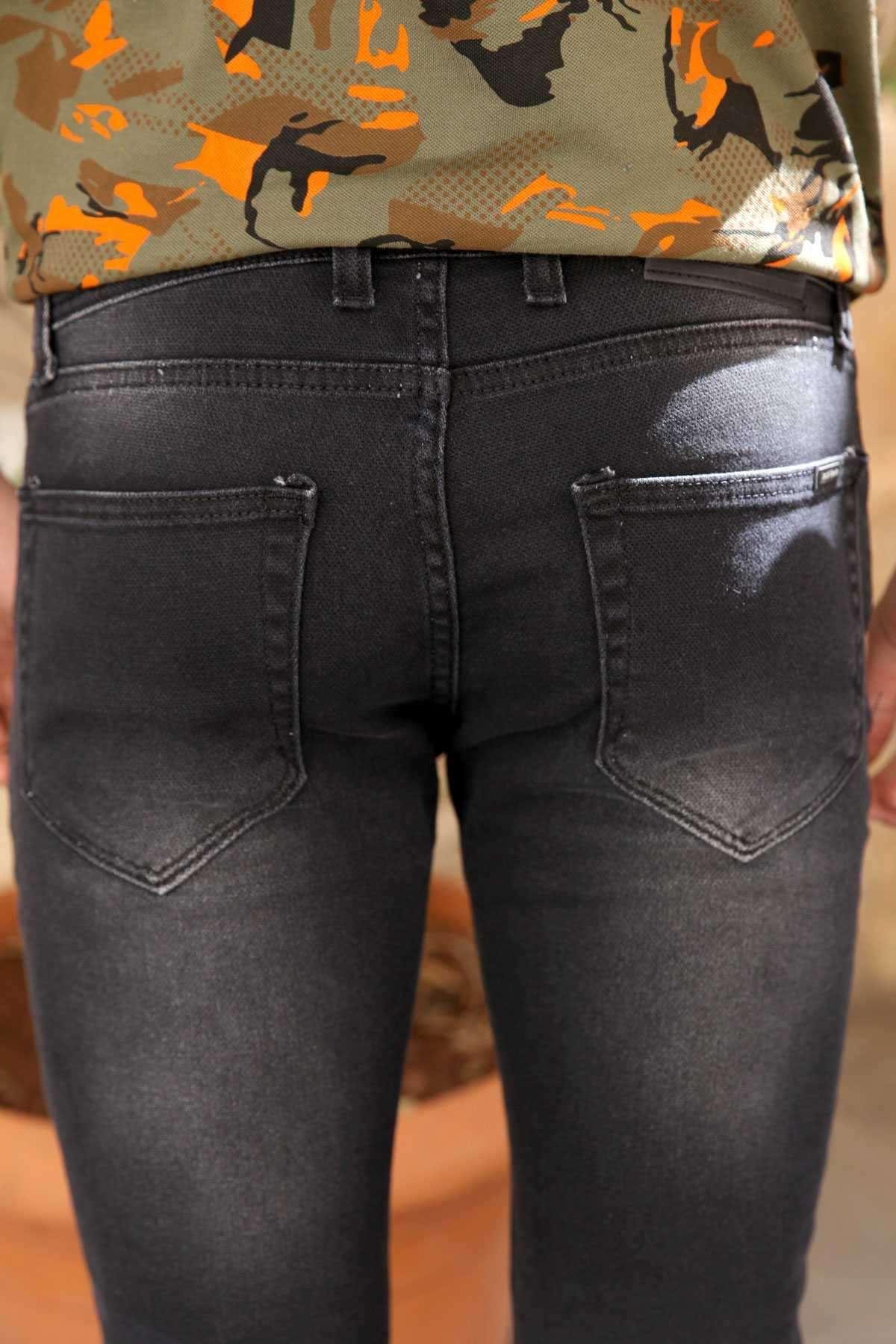 Basic Taşlamalı Petek Slim Fit Kot Pantolon Siyah