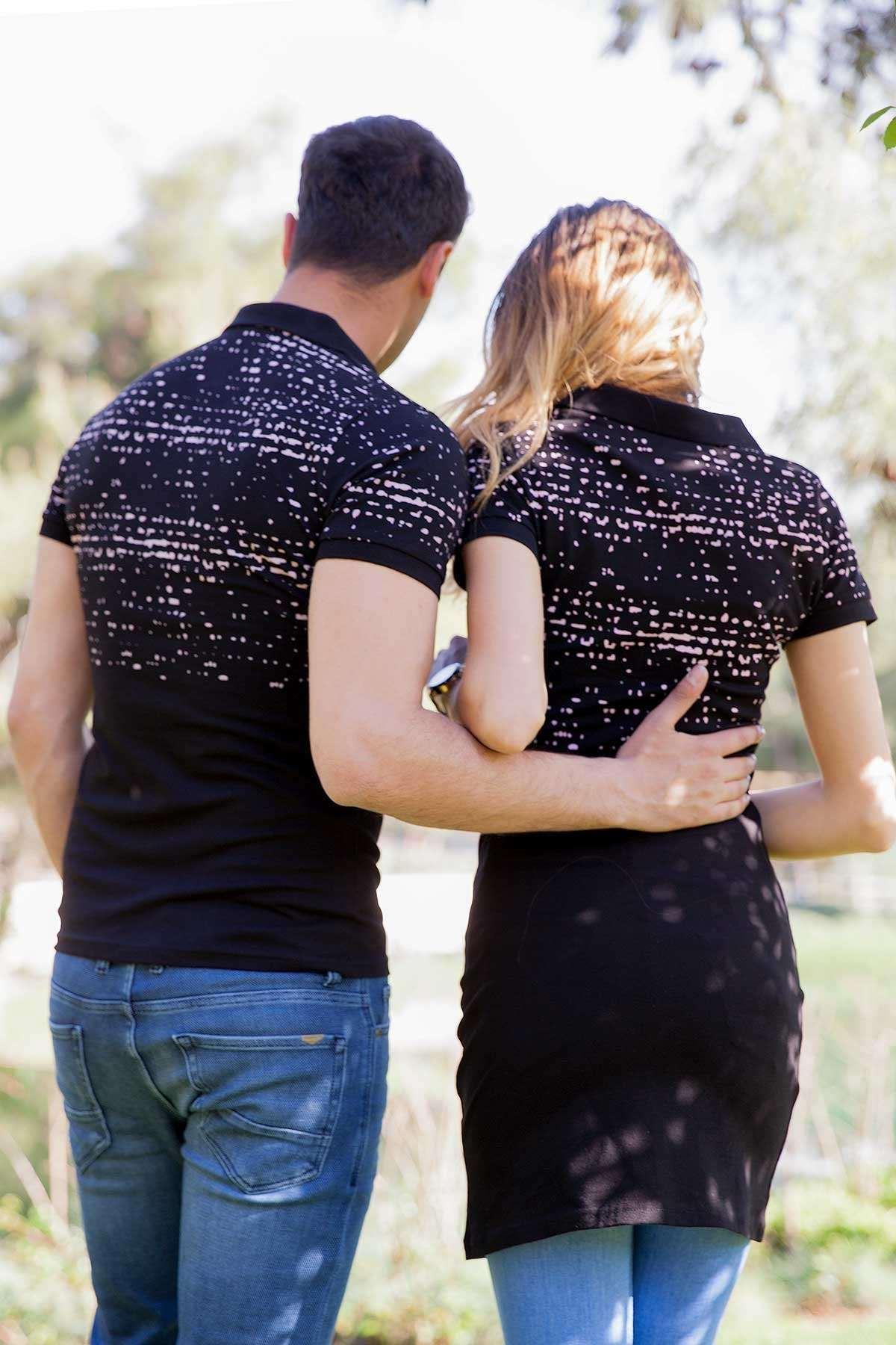 Baskılı Uzun Tunik Sevgili Kombini Siyah