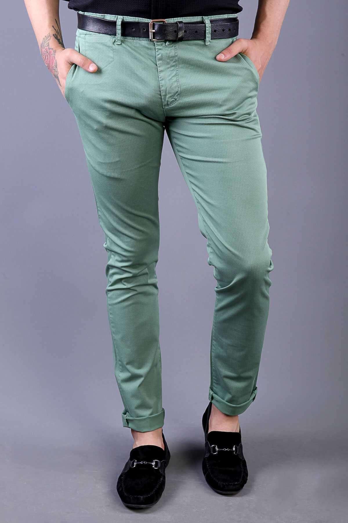 Baskılı Yıkamalı Slim Fit Pantolon Yeşil