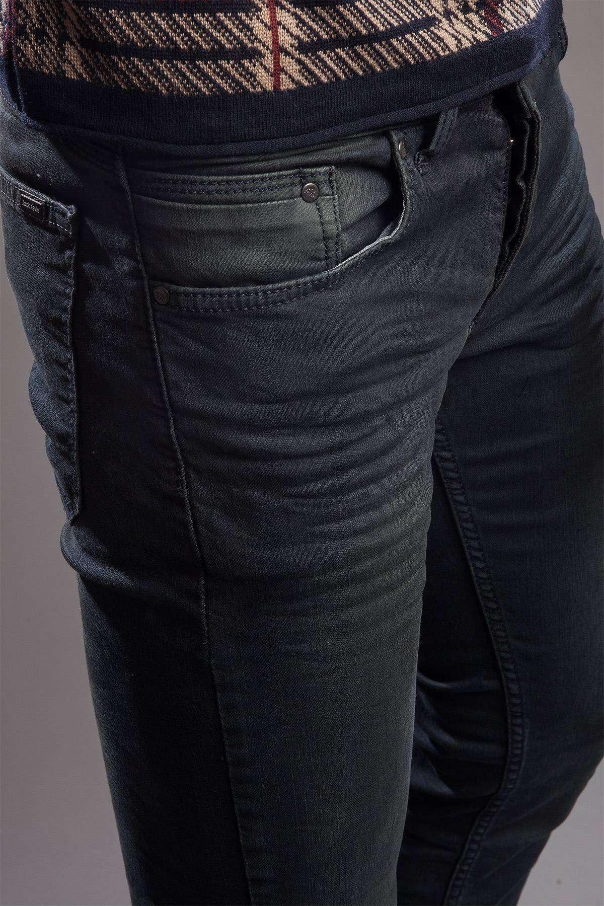 Basic Yıkamalı Kot Pantolon Petrol-Yeşili