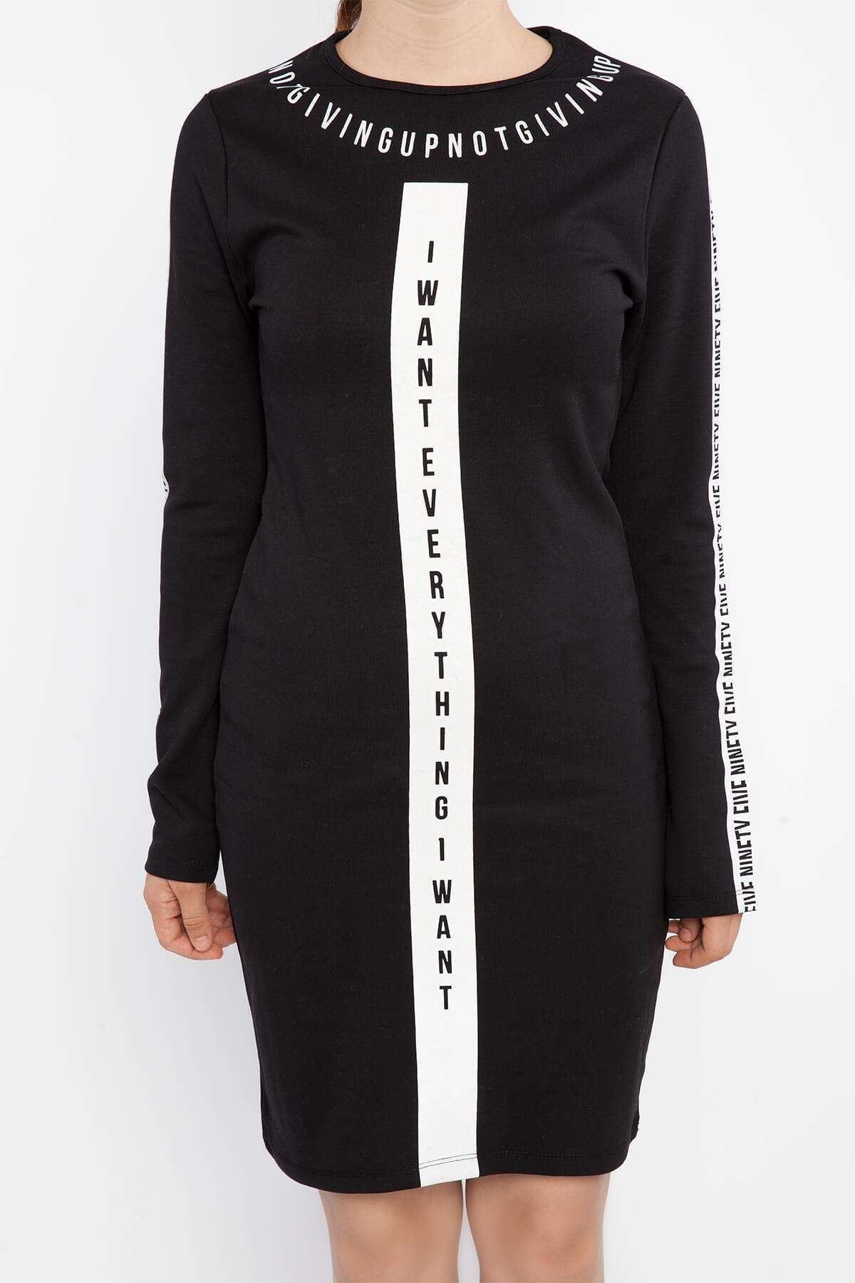 Baskılı Yazı Detaylı Elbise Siyah