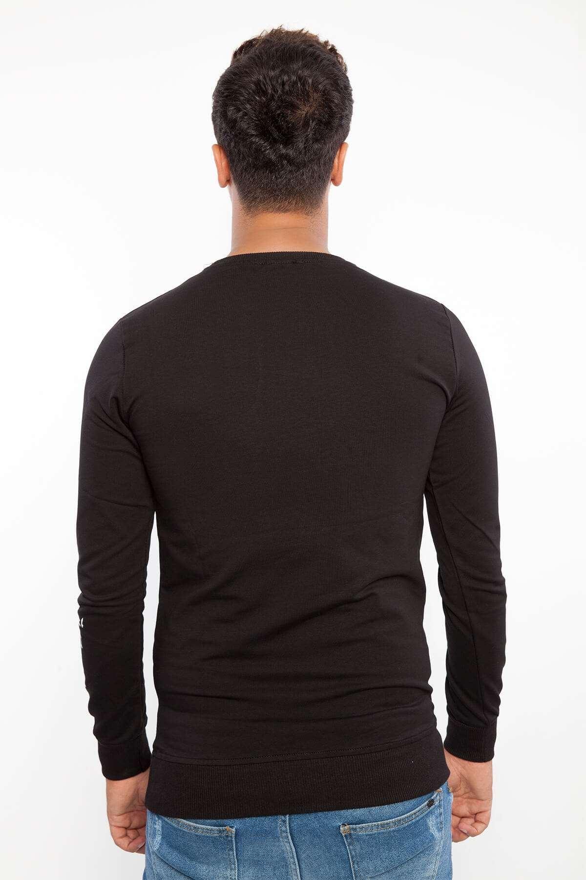 Baskılı Kolu Yazılı Sıfır Yaka Sweatshirt Siyah