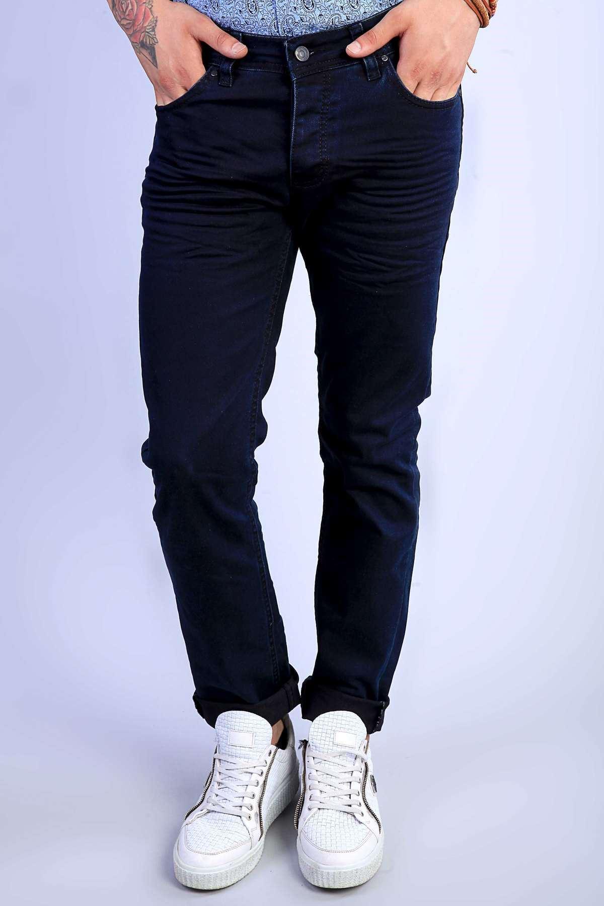 Basic Yıkama Kot Pantolon Lacivert