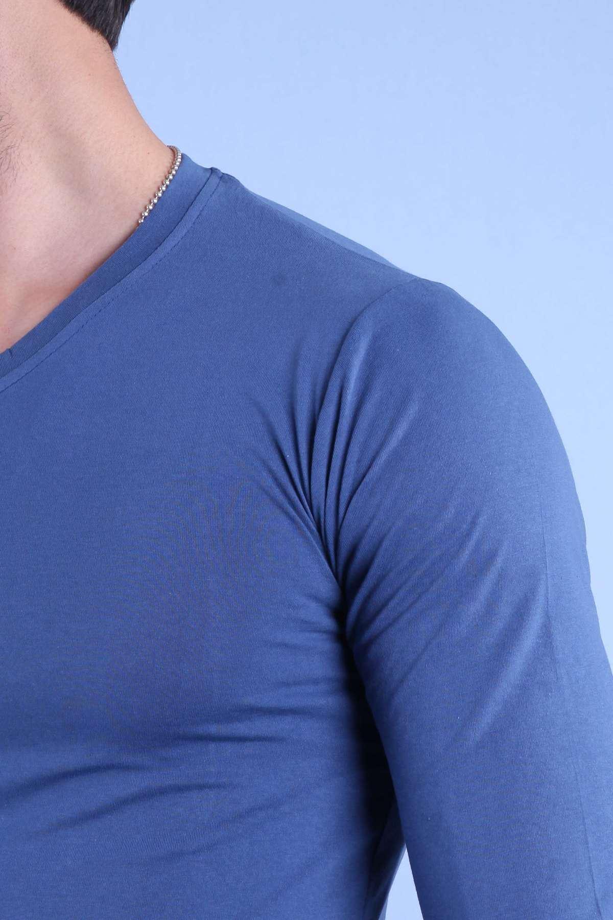 Basic V Yaka Slim Fit Sweatshirt İndigo