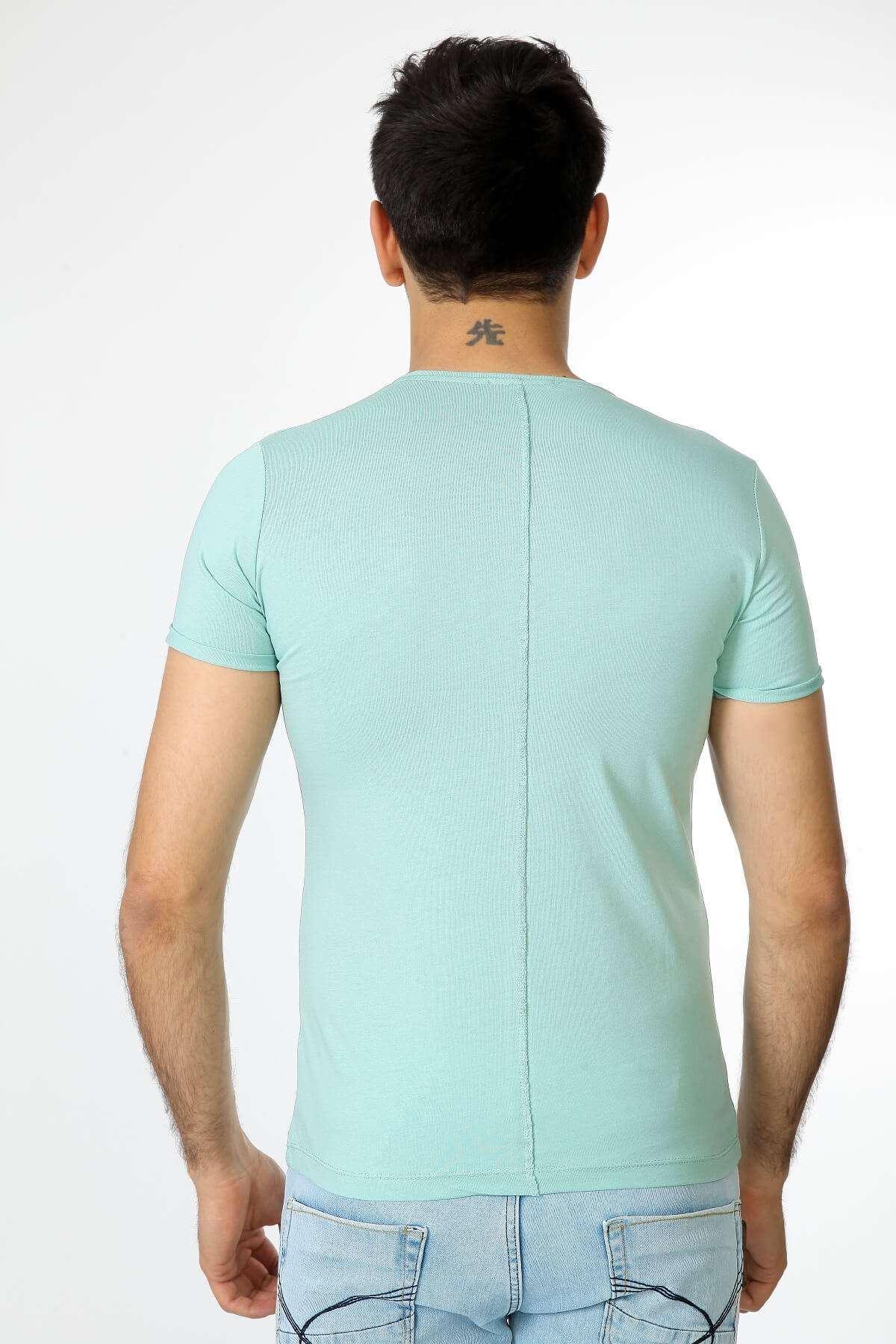 Baskılı Bisiklet Yaka Tişört Mint