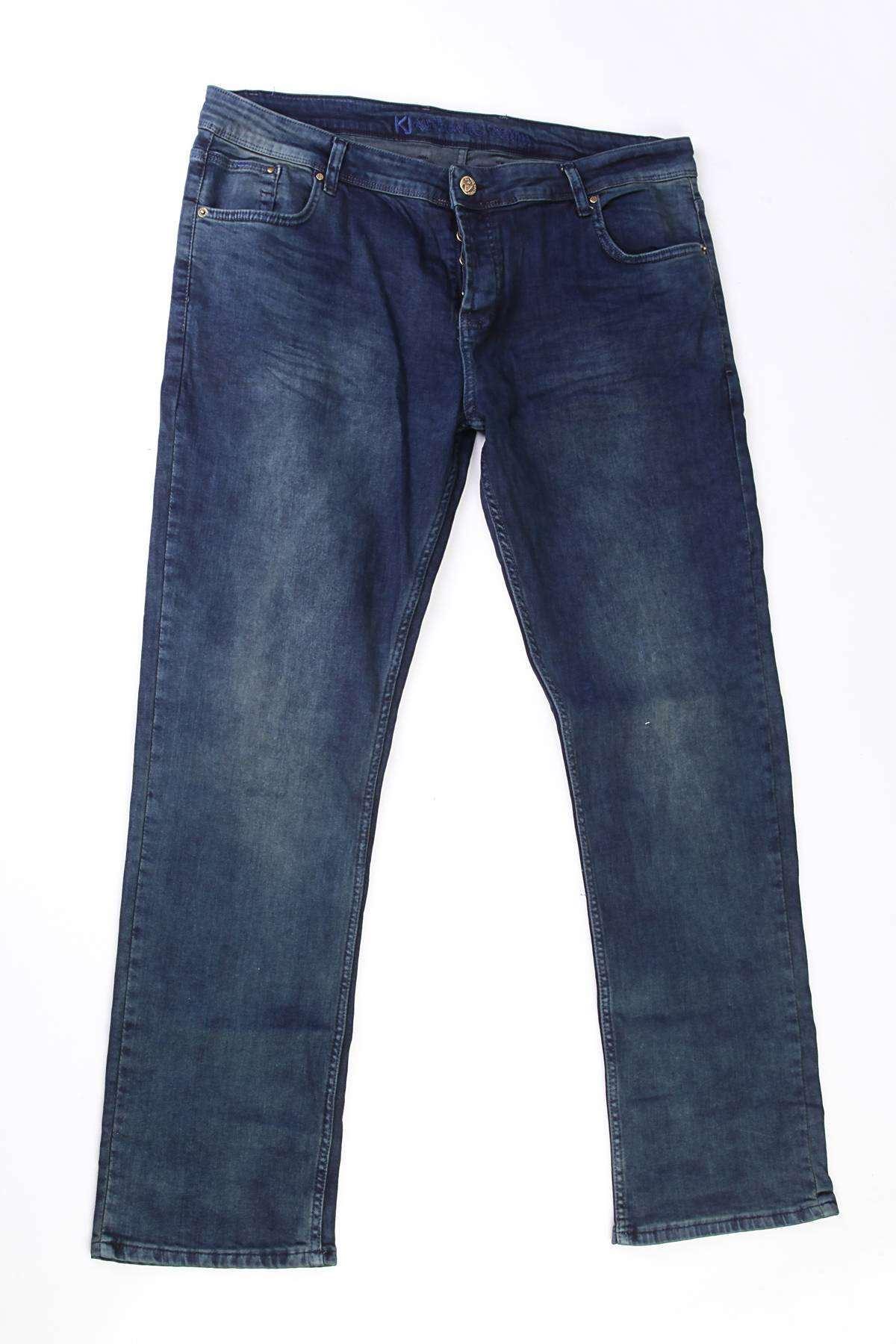 Basic Yıkamalı Battal Kot Pantolon Lacivert