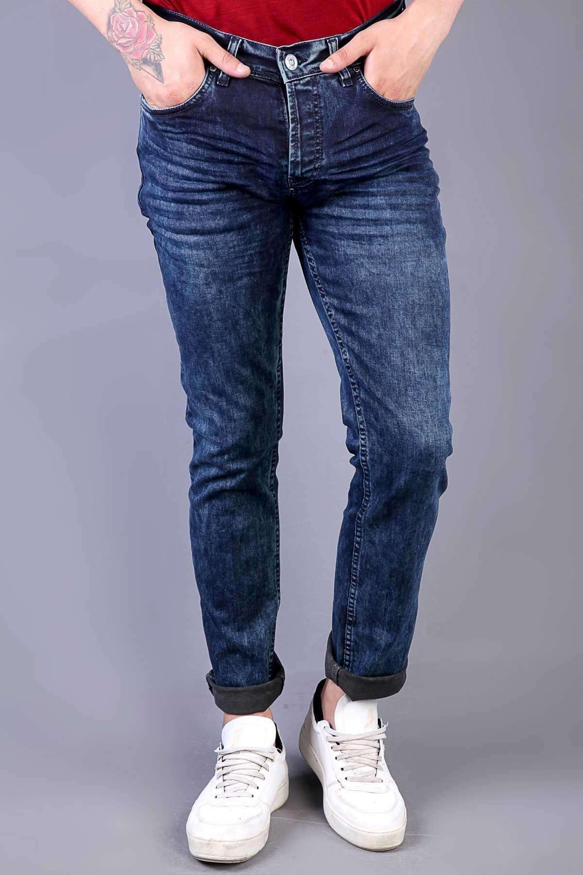 Basic Yıkamalı Klinkırlı Slim Fit Kot Pantolon Lacivert